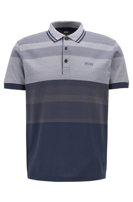 Slim-fit polo shirt with engineered stripes, Dark Blue