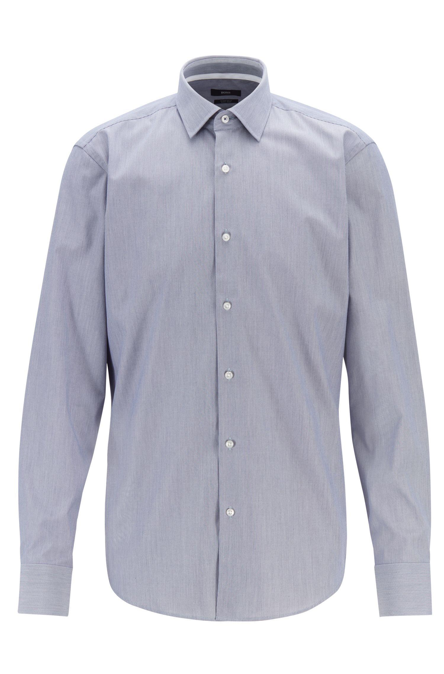 Regular-fit shirt in easy-iron cotton poplin, Dark Blue