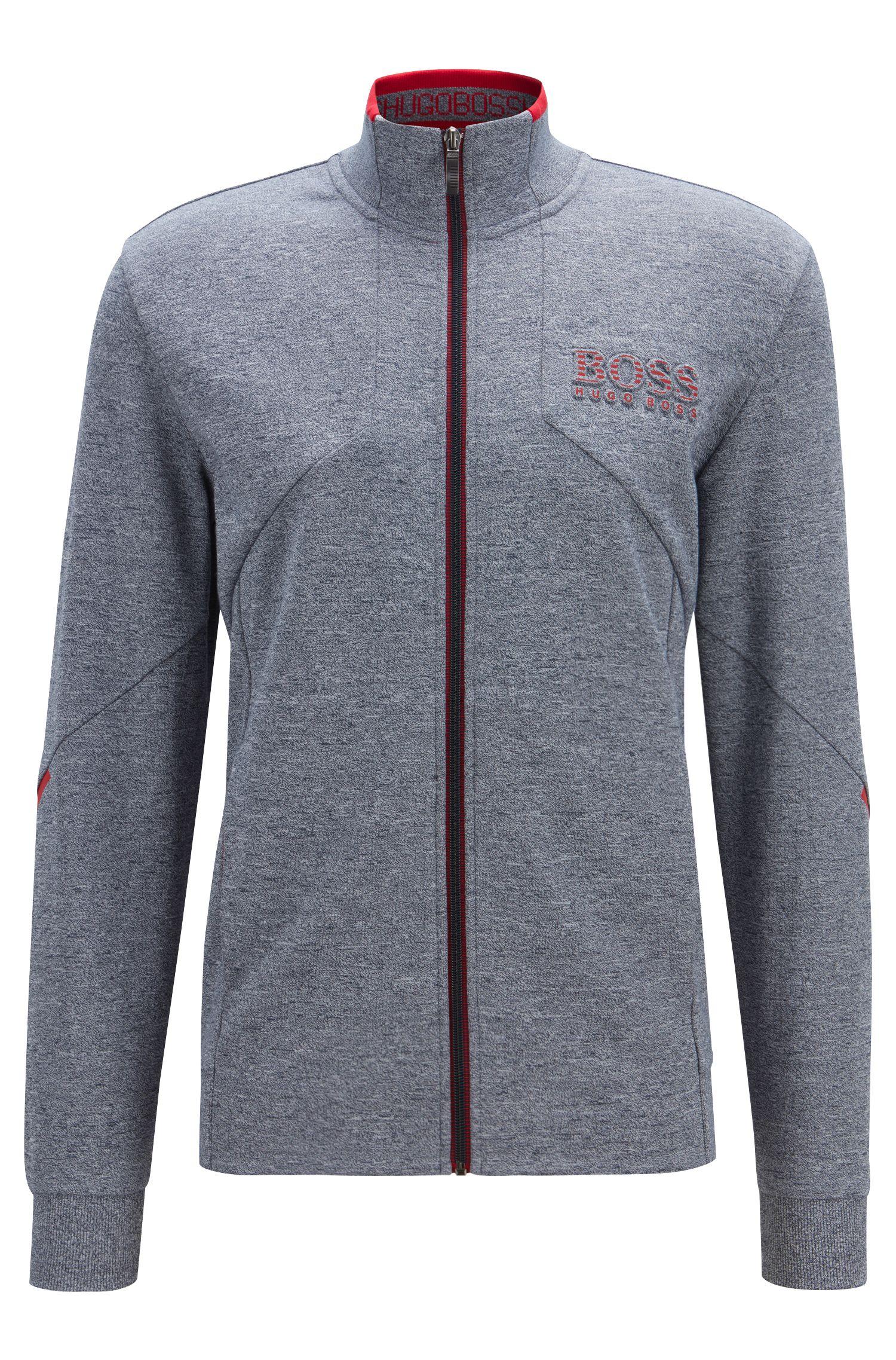 Regular-fit zipper-through sweatshirt with reflective details, Dark Blue