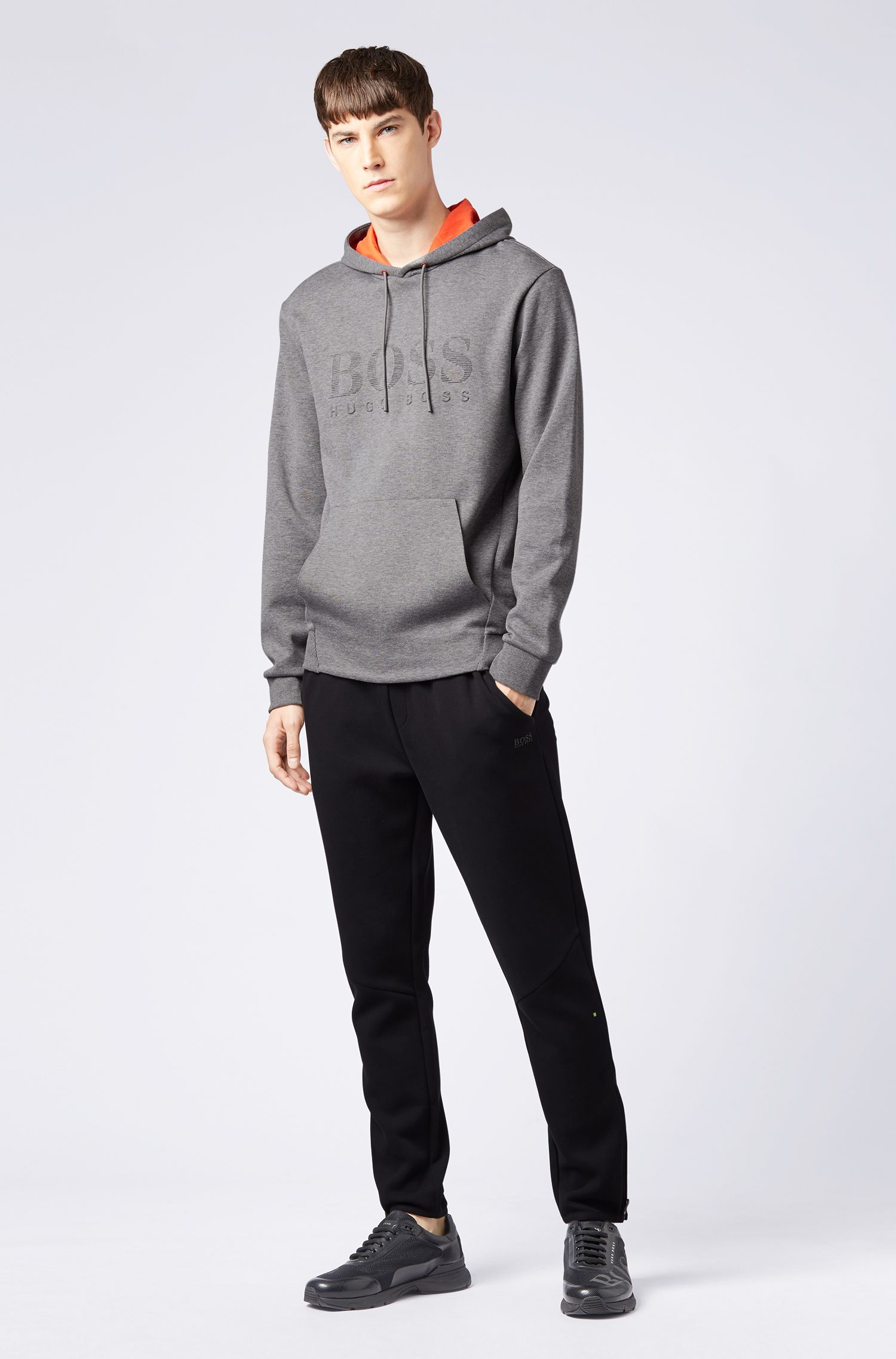 Double-faced hooded sweatshirt with embossed logo, Grey