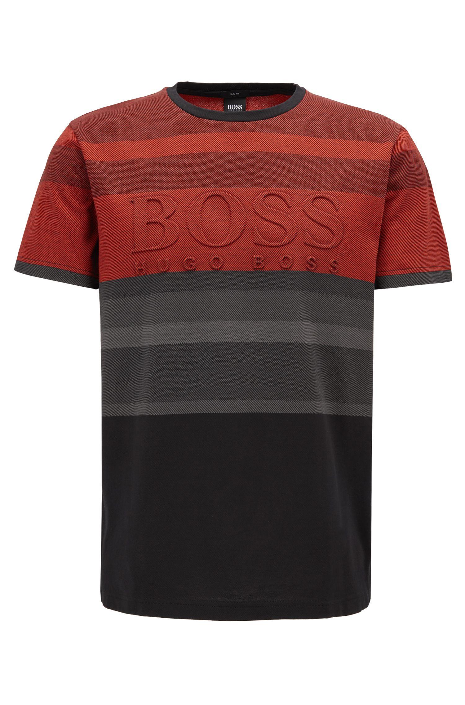 Cotton-jacquard T-shirt with irregular stripes and embossed logo, Black