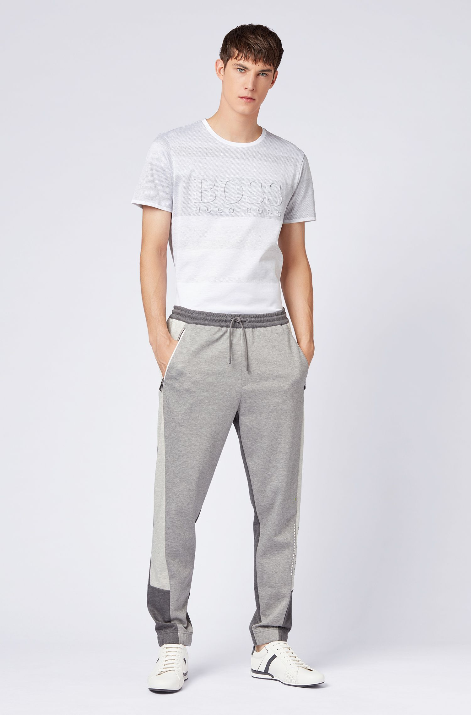 Cotton-jacquard T-shirt with irregular stripes and embossed logo, White