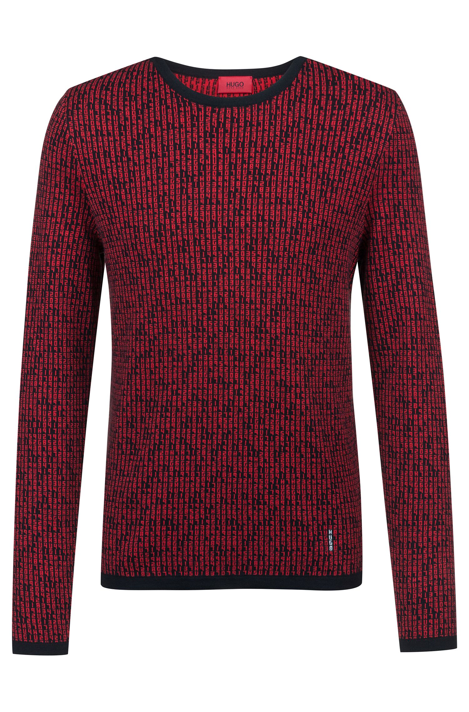 Slim-fit sweater in knitted jacquard with matrix motif, Open Pink
