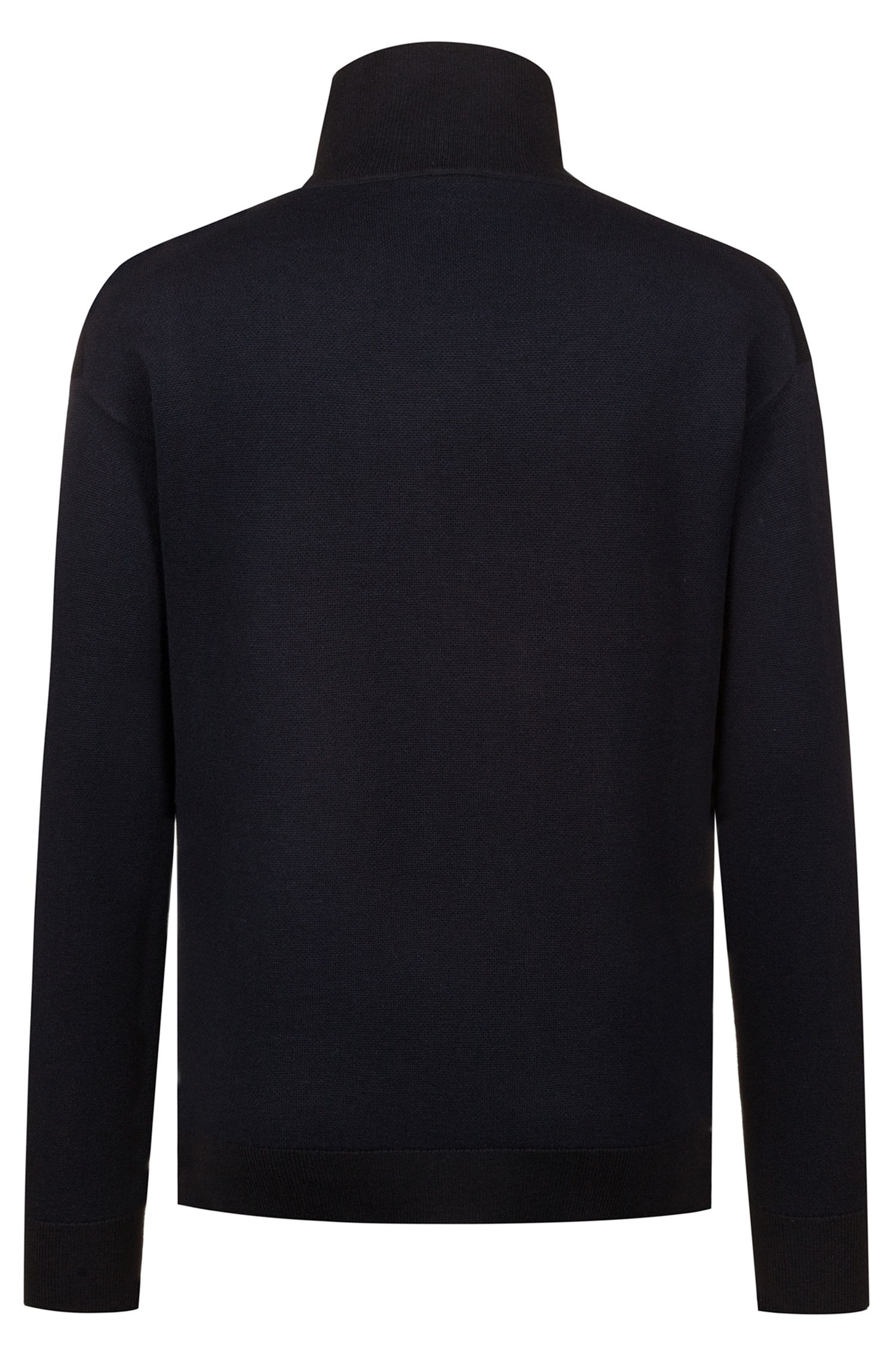 Oversized-fit military-inspired sweater in two-tone jacquard, Dark Blue