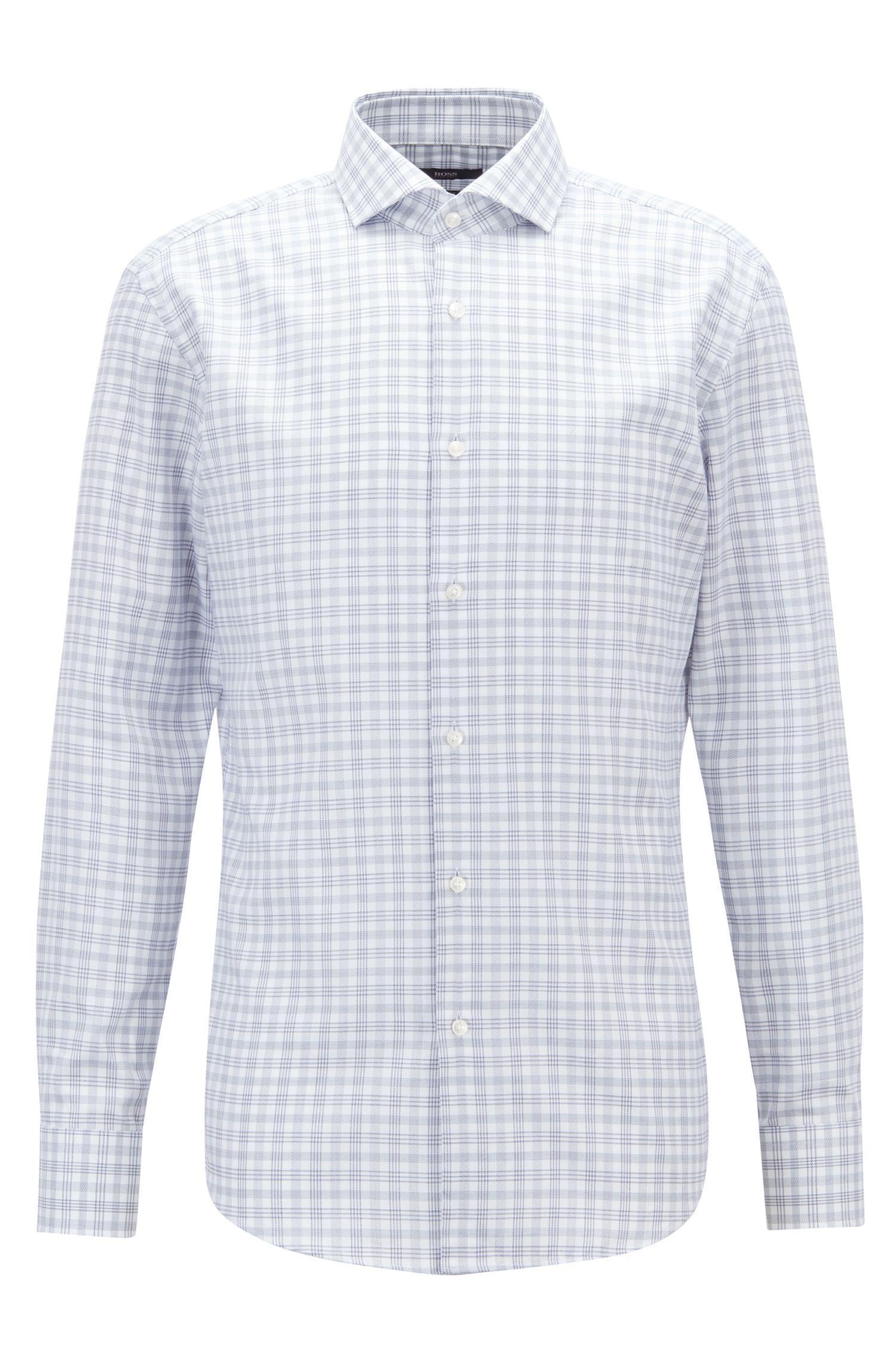 Slim-fit shirt in Glen-check cotton twill, Dark Blue