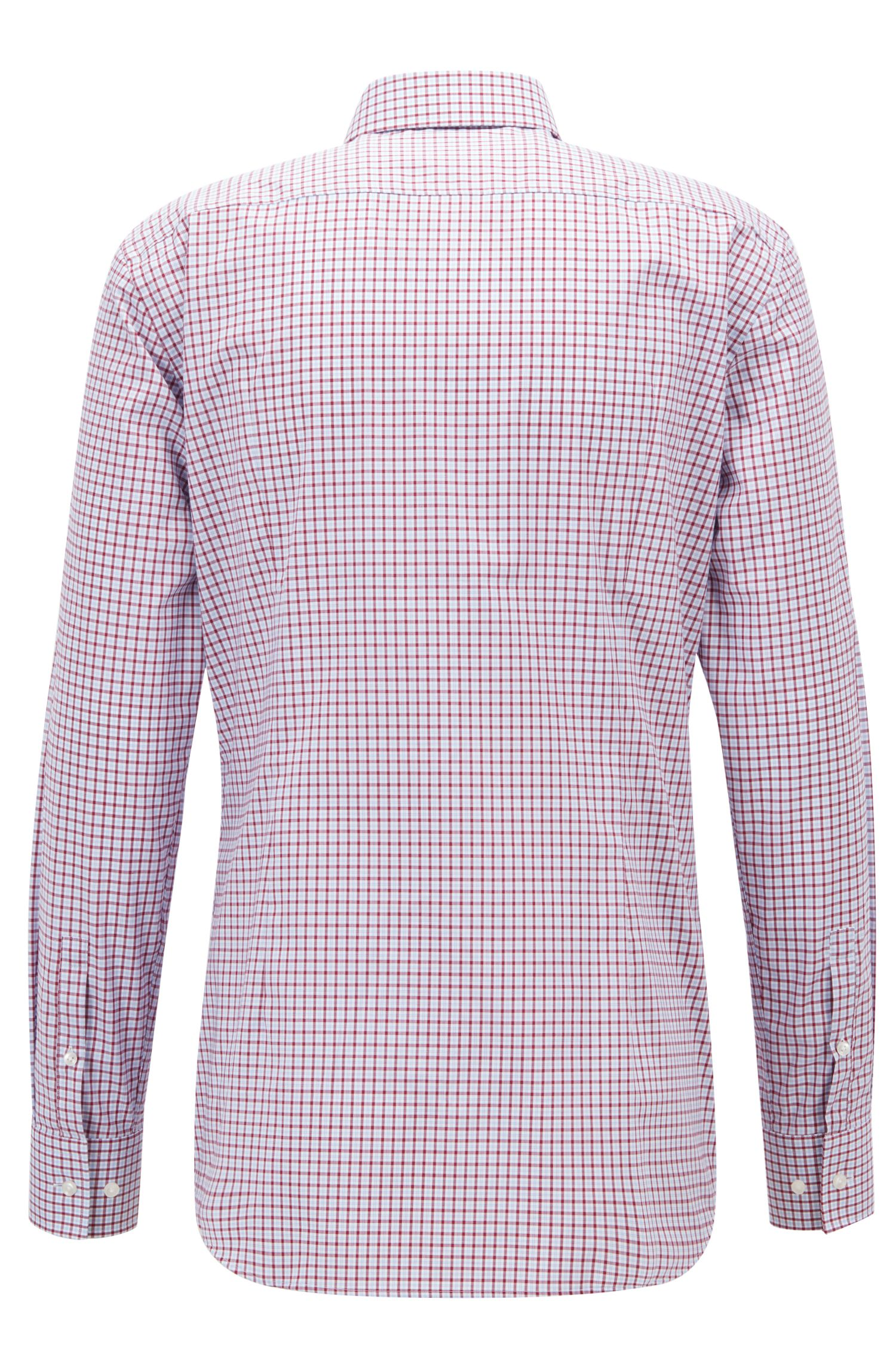 Easy-iron slim-fit shirt with Vichy check, Dark pink