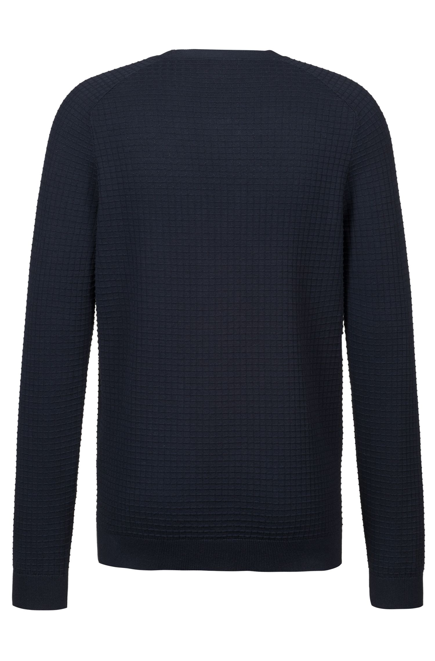 Crew-neck sweater in knitted cotton with grid structure, Dark Blue