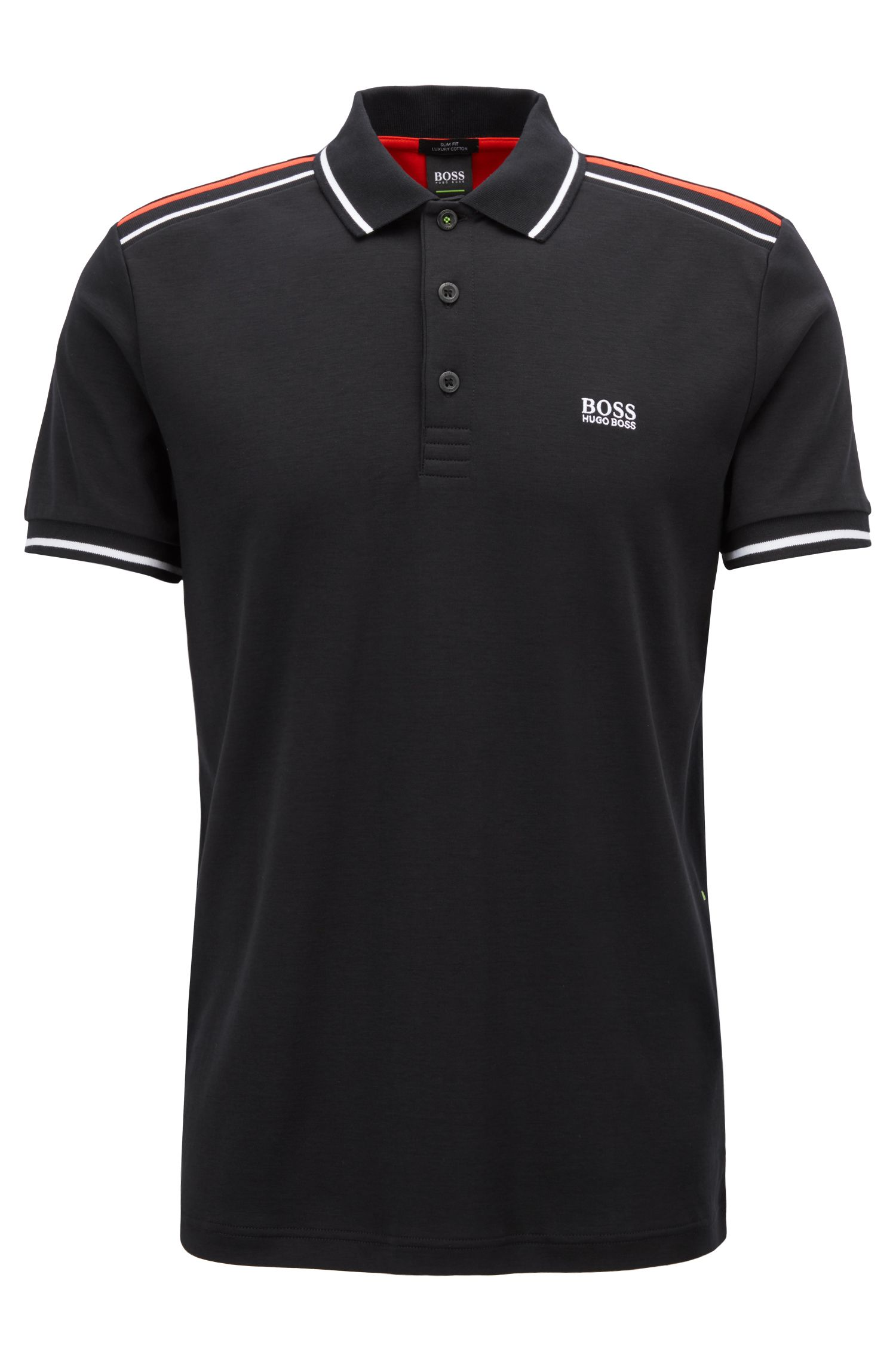 Slim-fit polo shirt in luxury cotton with colorblocking, Black