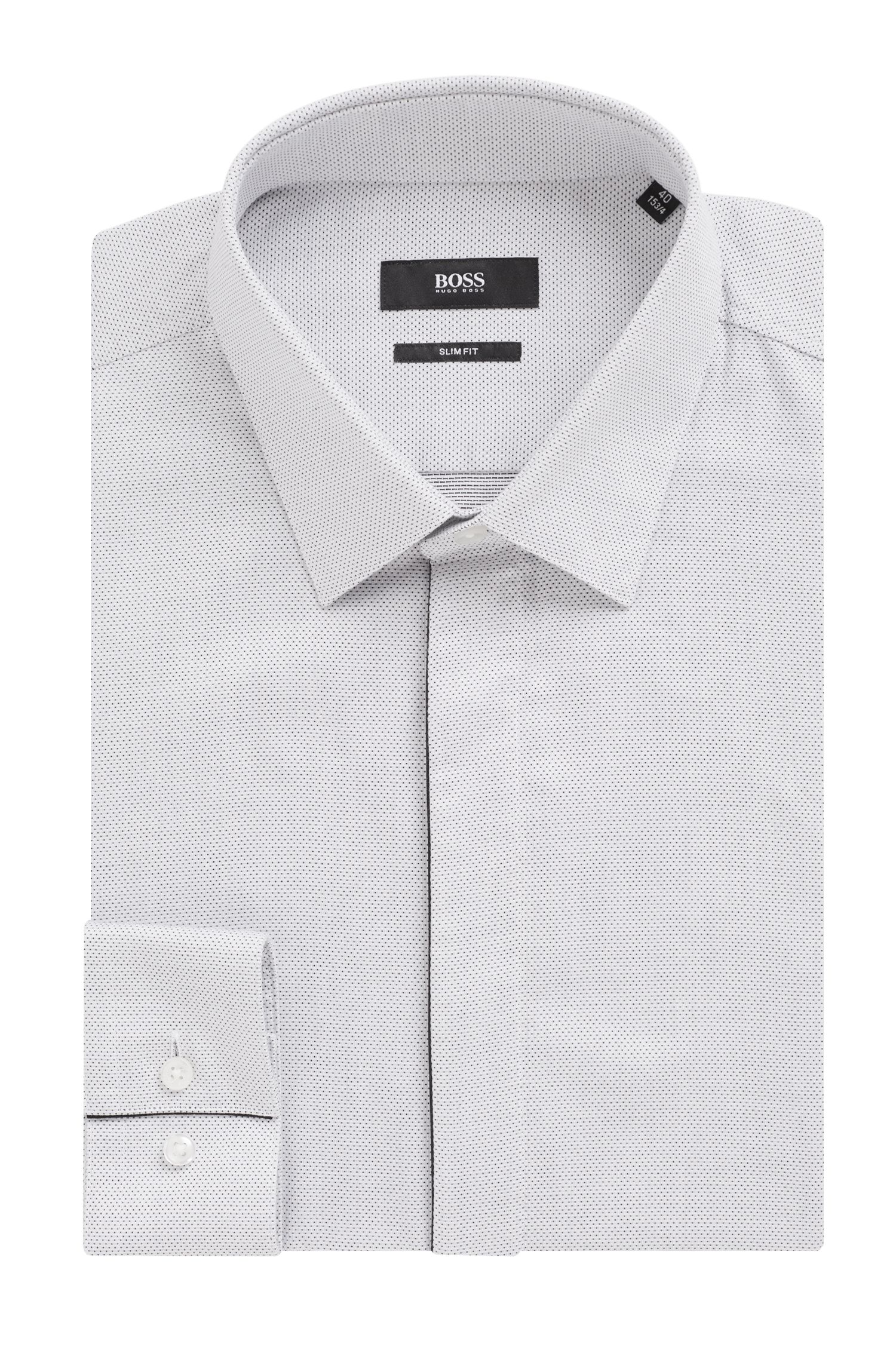 Slim-fit shirt in micro-patterned dobby cotton, White