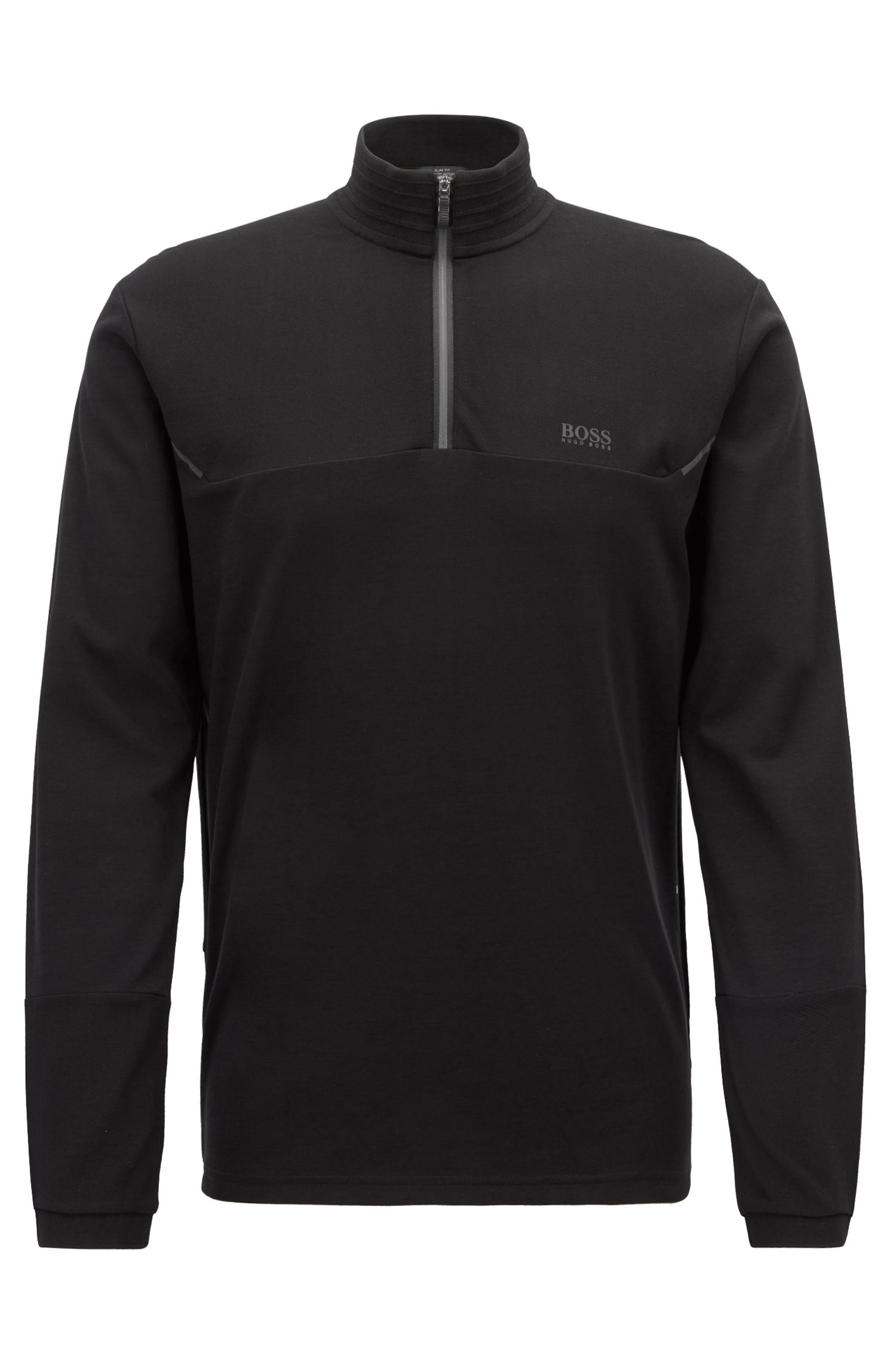 Slim-fit long-sleeved polo shirt with reflective details, Black