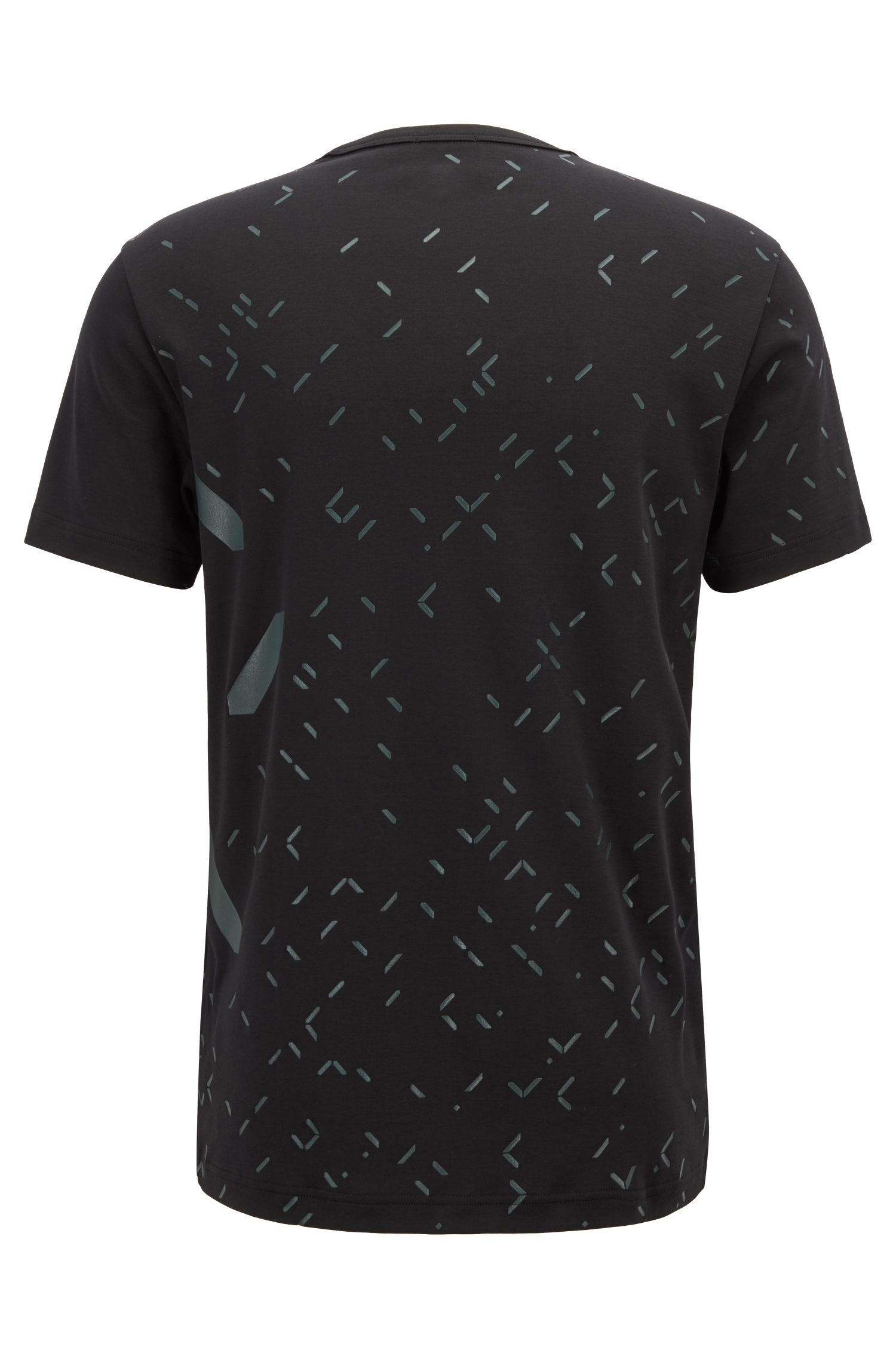Slim-fit T-shirt with all-over digital-clock artwork, Black