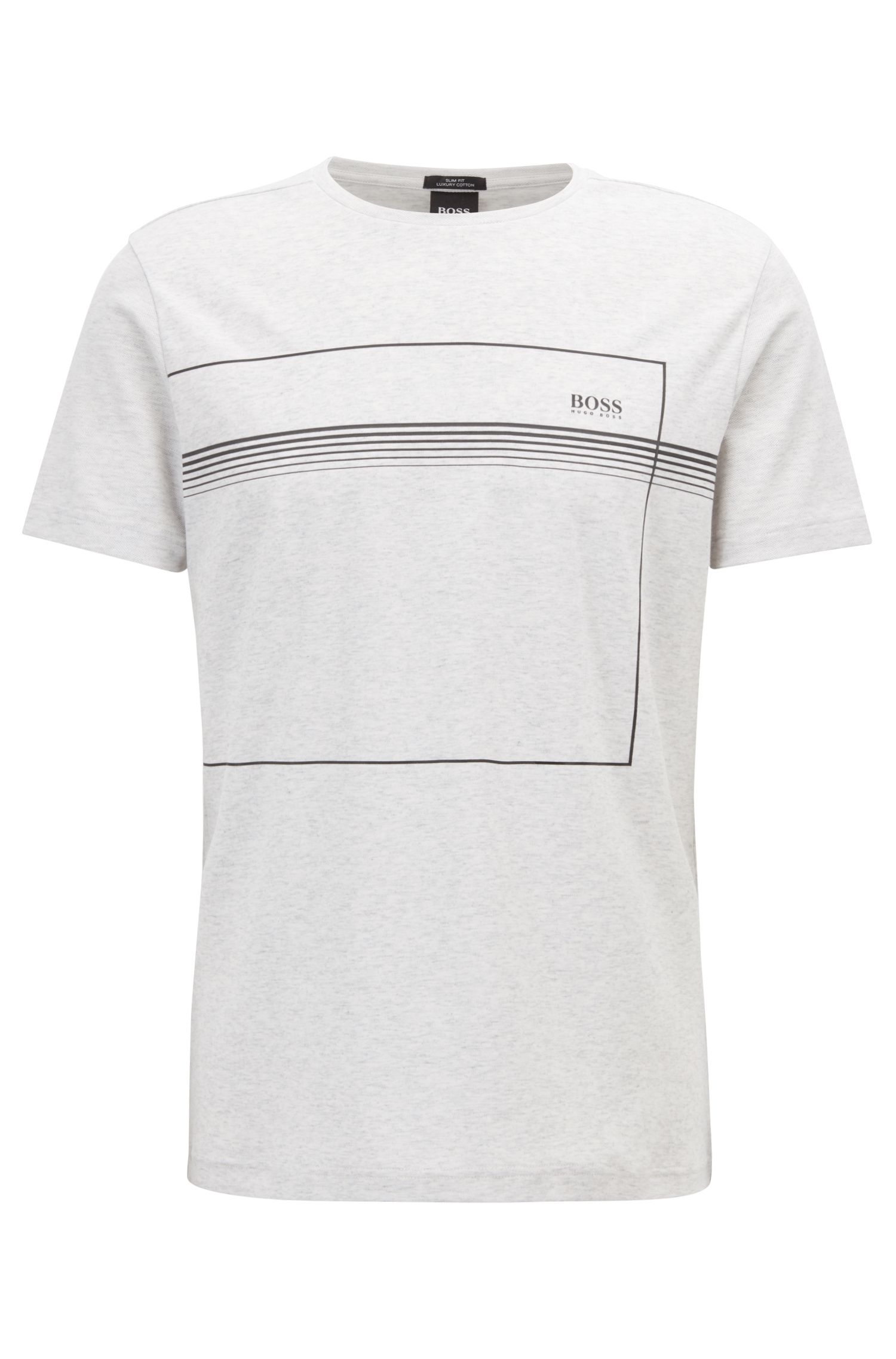 Slim-fit T-shirt in interlock cotton with reflective print, Light Grey