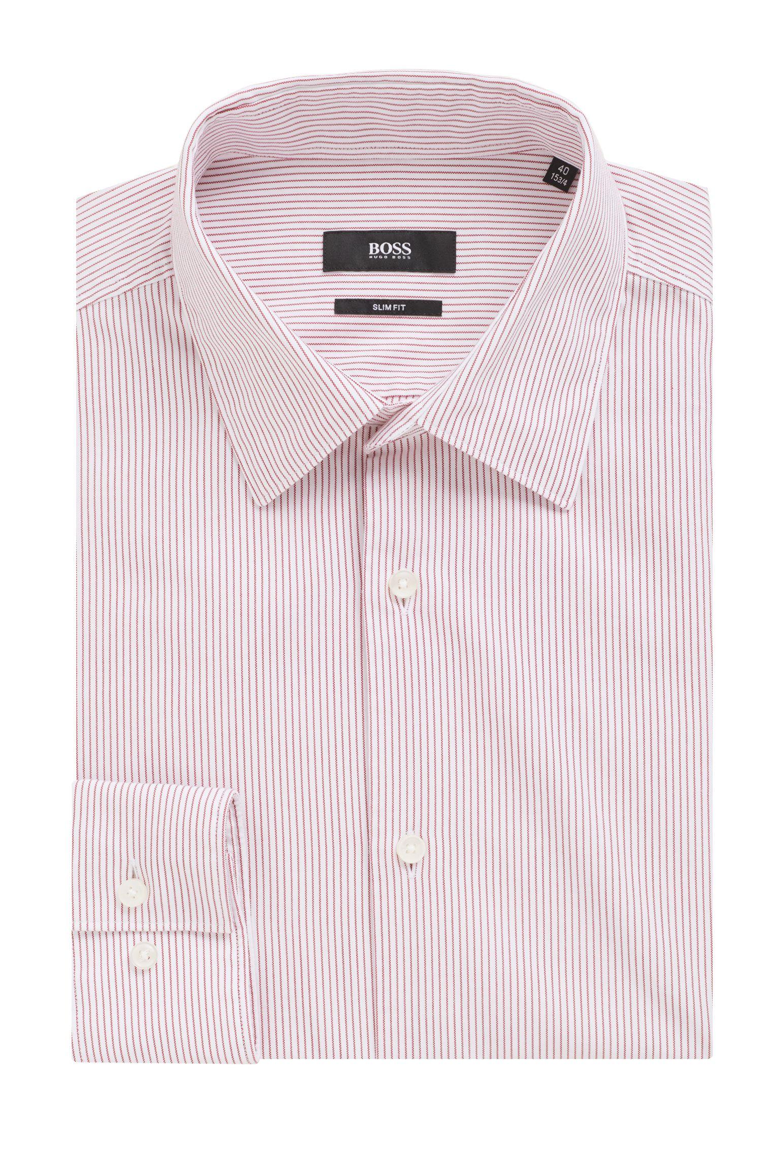 Slim-fit shirt in striped basket-weave cotton, Dark pink