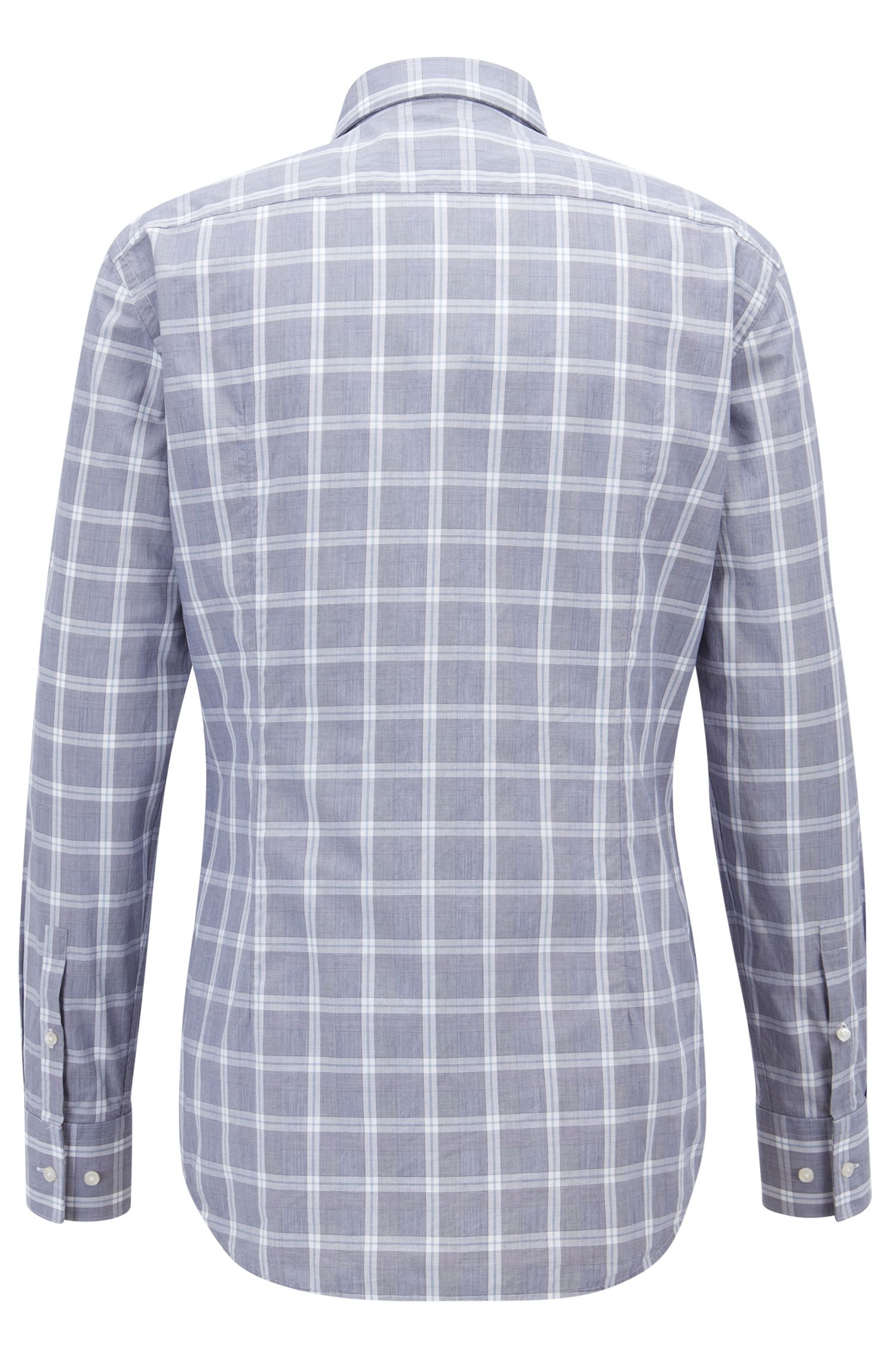 Slim-fit shirt in washed Glen-check cotton poplin, Open Blue