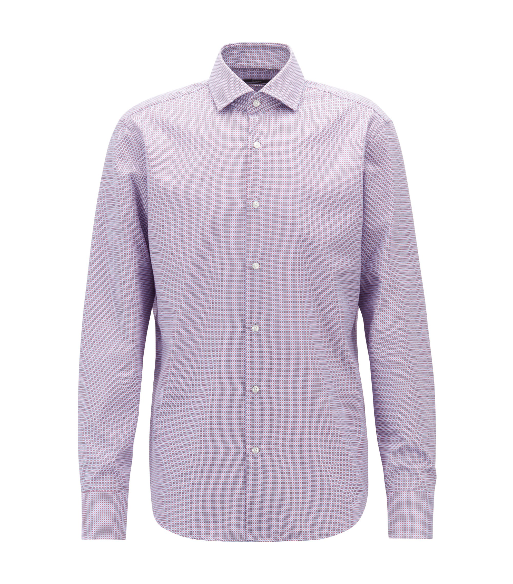 Regular-fit shirt in two-tone dobby cotton, Dark pink