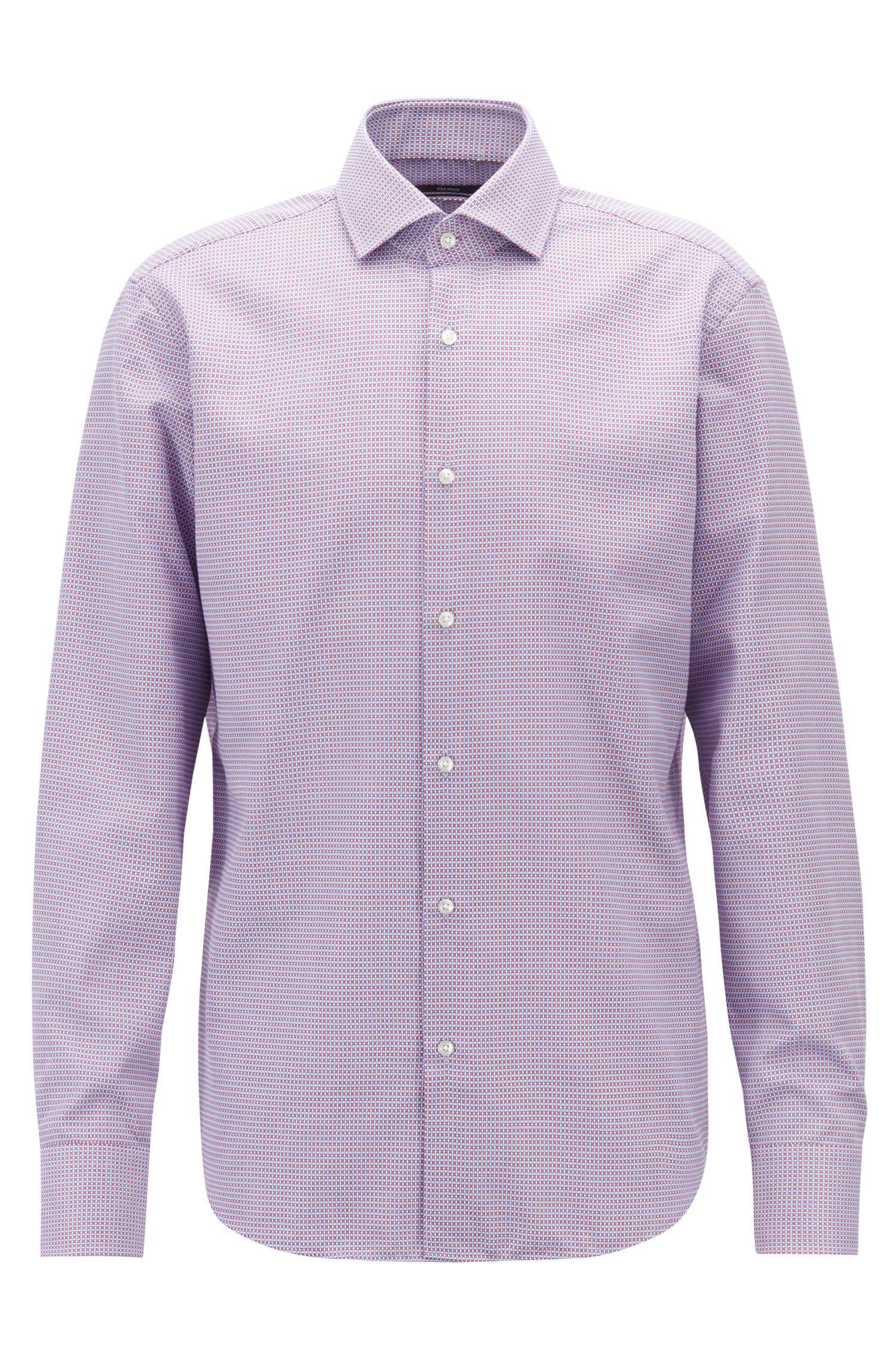 Regular-fit shirt in two-tone dobby cotton, Dark pink