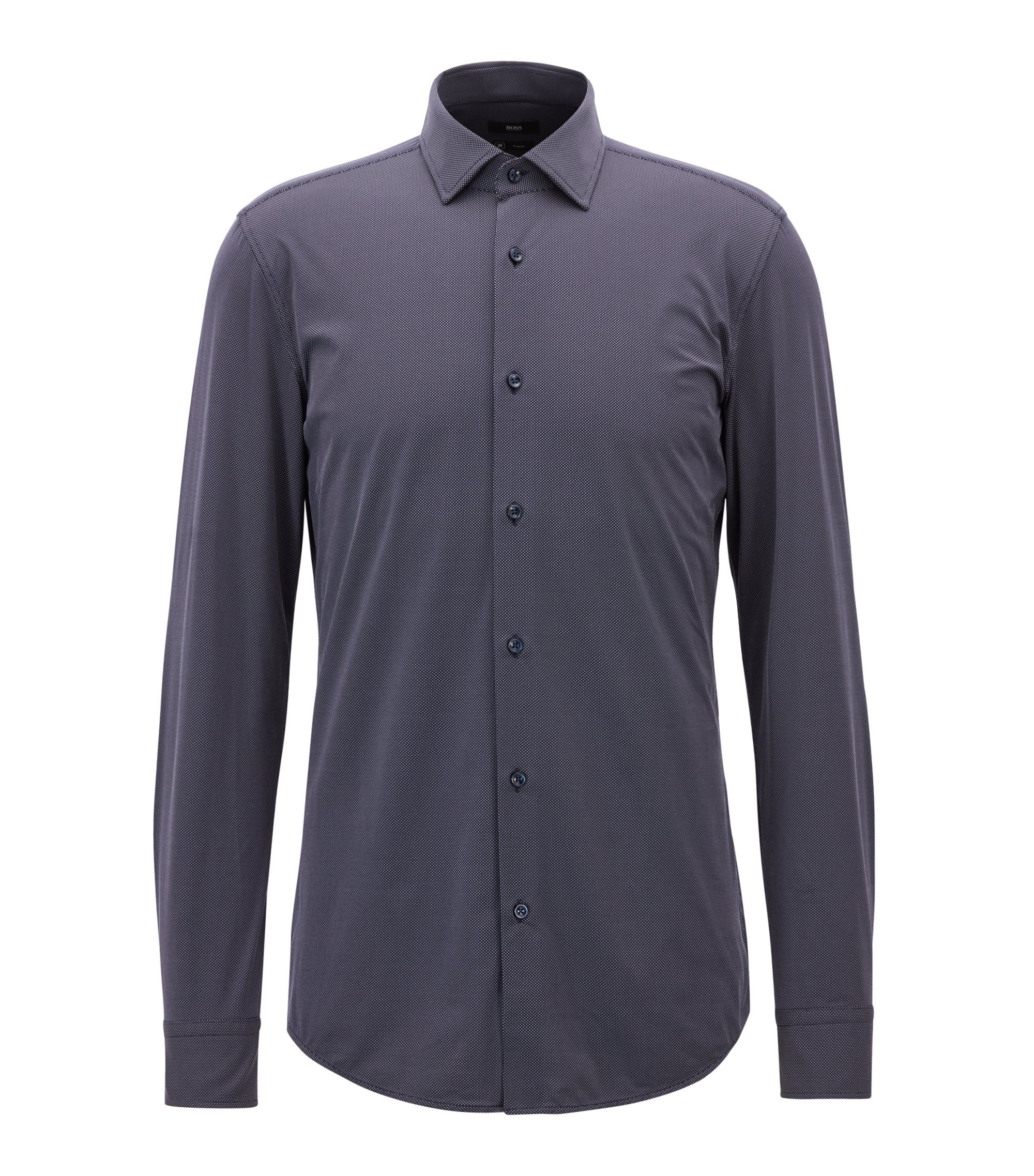Slim-fit shirt in micro dobby performance stretch fabric, Dark Blue