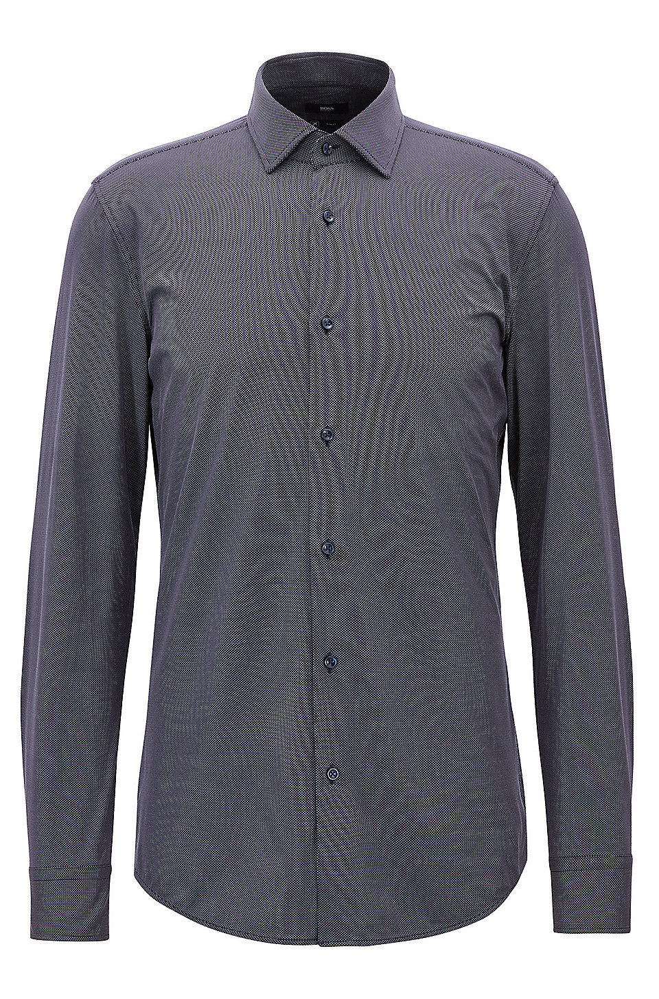 Boss Slim Fit Shirt In Micro Dobby Performance Stretch Fabric