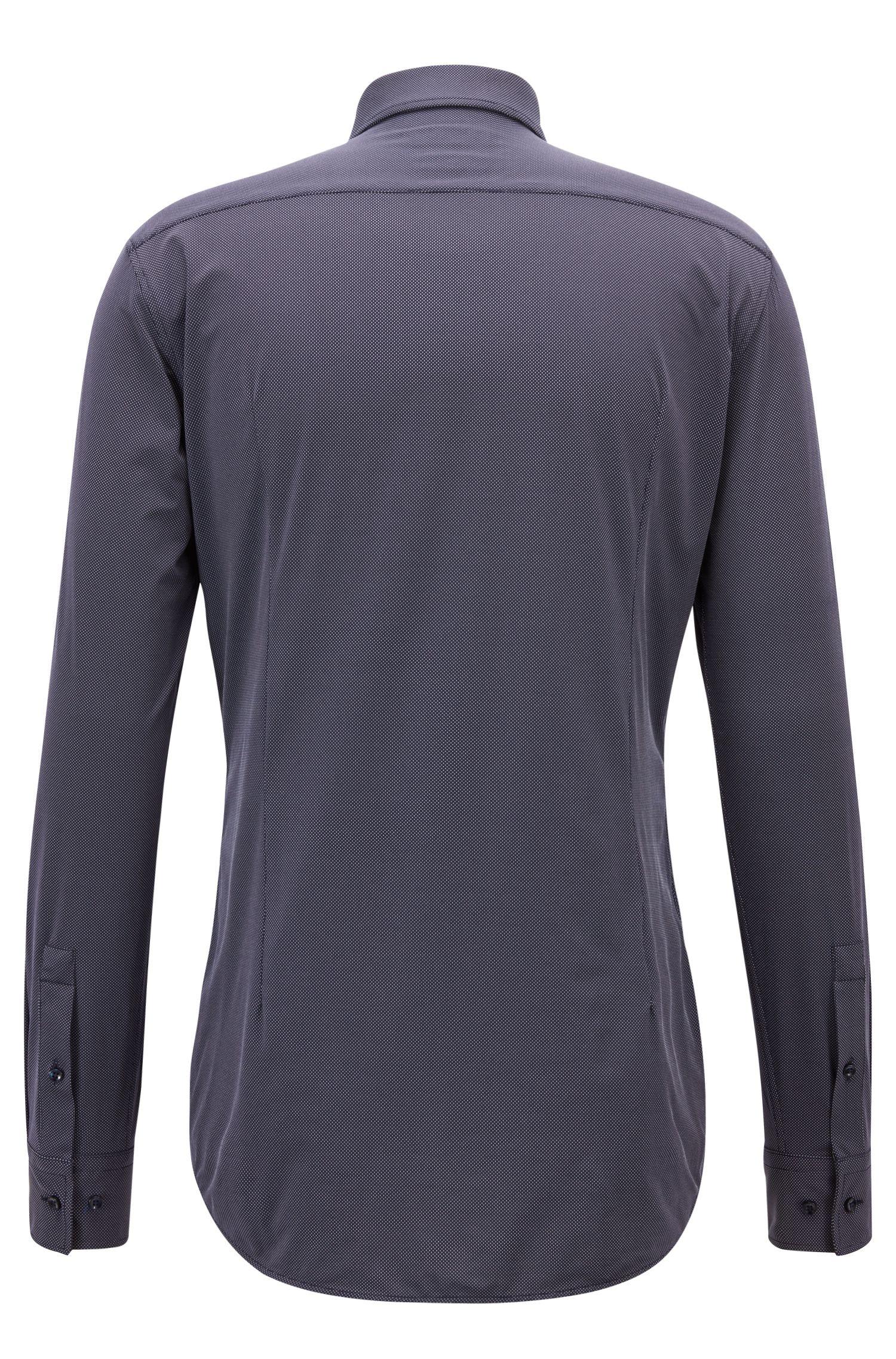 Slim-fit shirt in micro dobby performance stretch fabric, Dark Blue