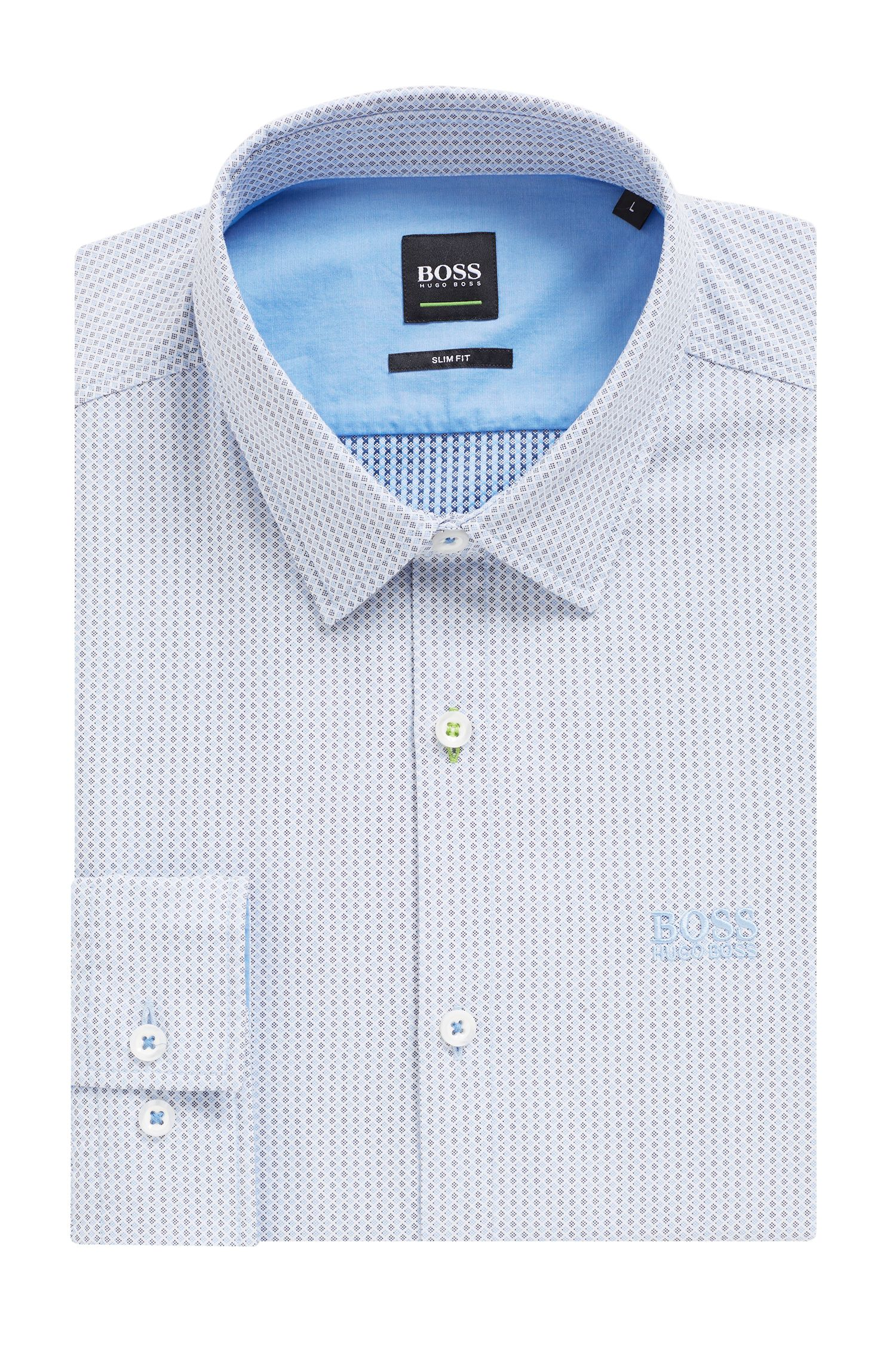 Slim-fit shirt in micro dobby performance stretch fabric, Blue