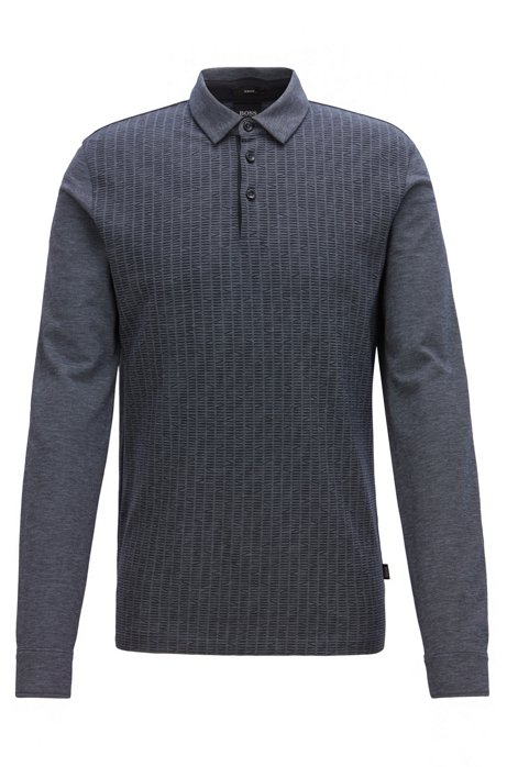 Slim-fit polo shirt in Oxford cotton with printed front panel, Open Blue