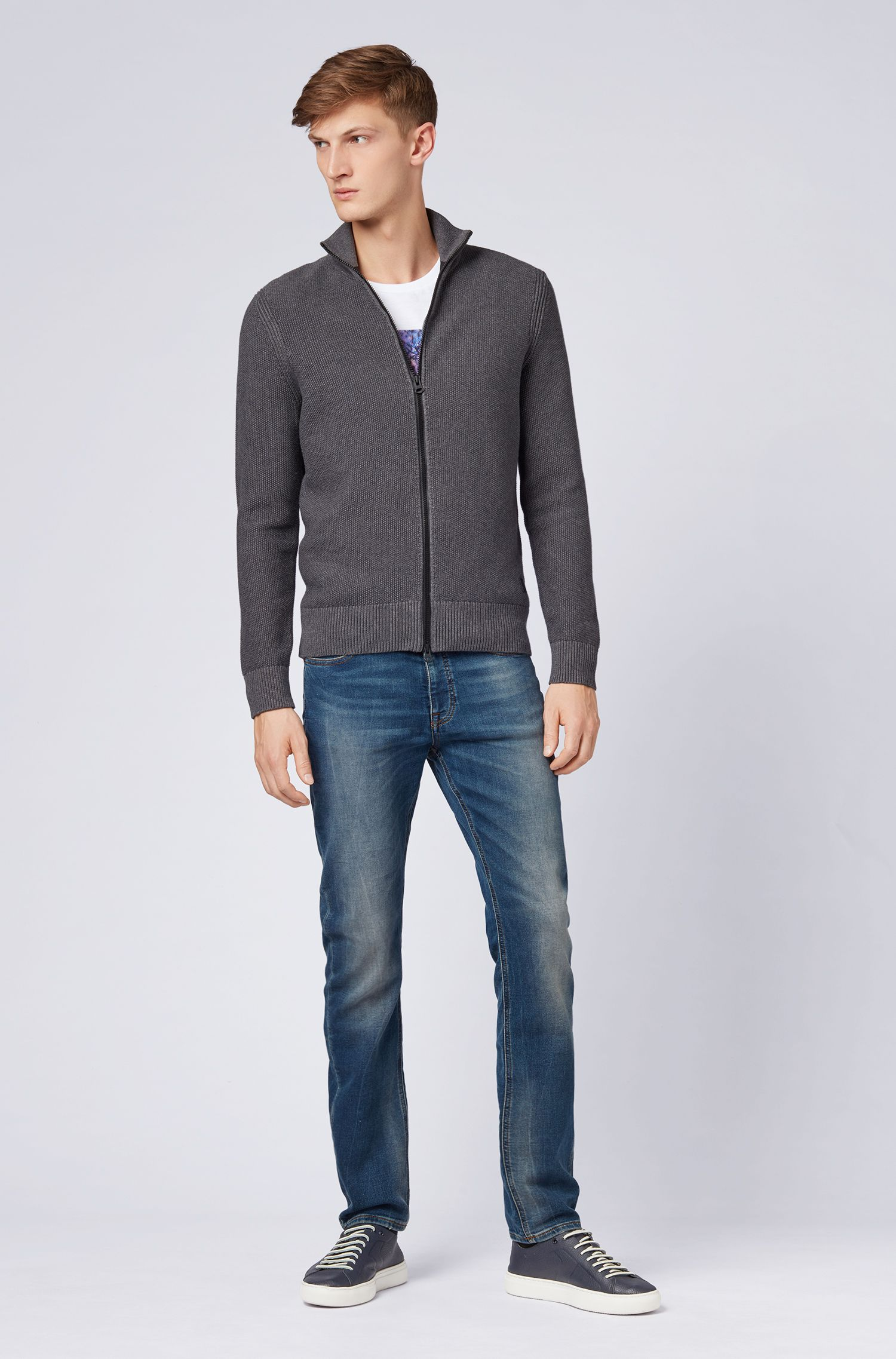 Knitted jacket in a structured cotton blend, Grey