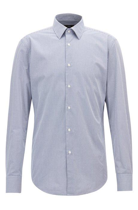 Slim-fit shirt in Vichy-check dobby cotton, Dark Blue