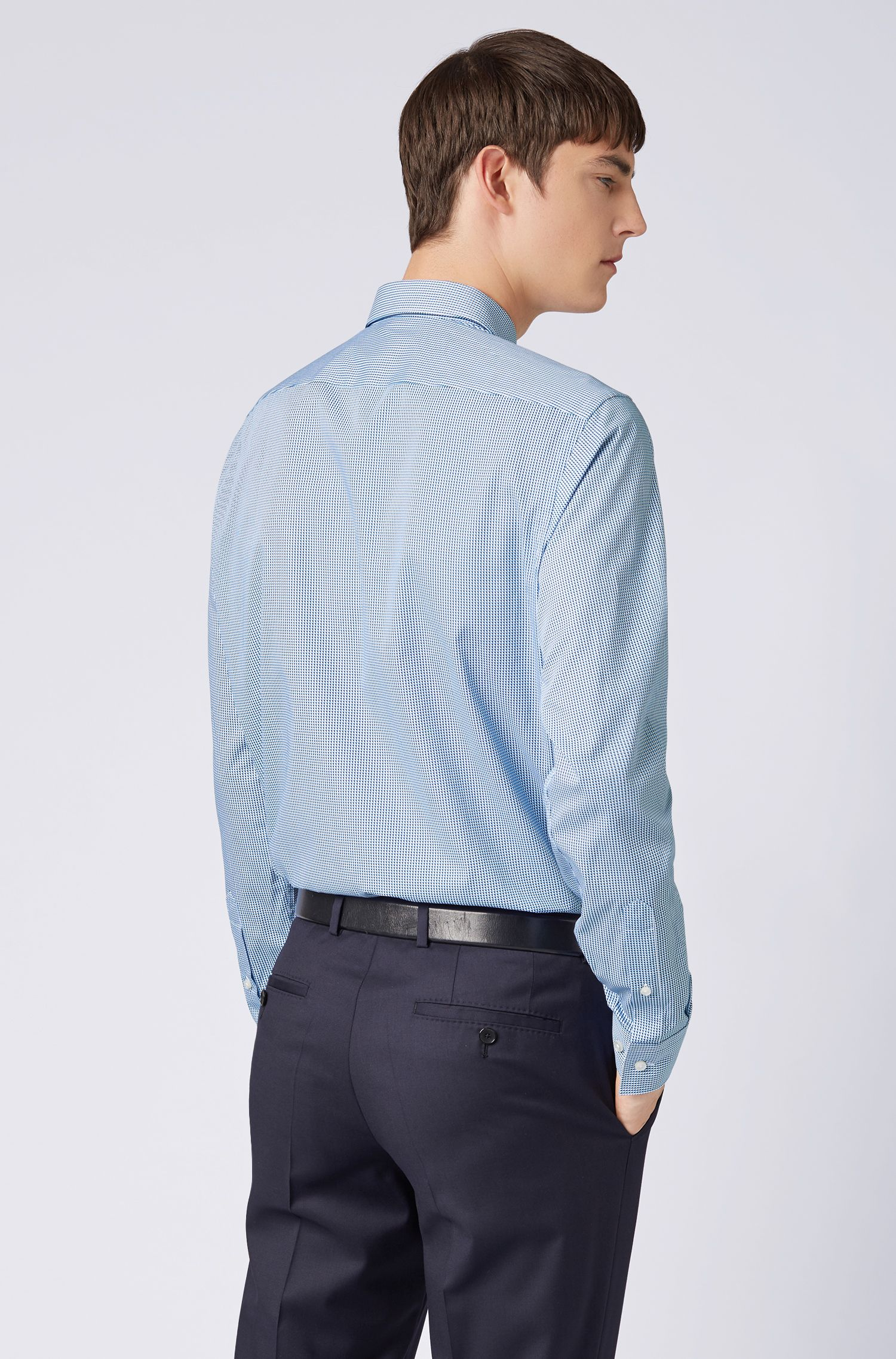 Regular-fit shirt in cotton with three-dimensional print, Blue