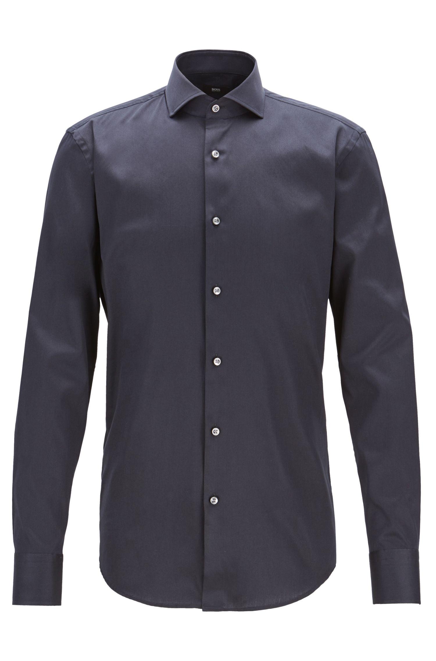 Slim-fit shirt in Italian satin-finish stretch cotton, Dark Blue