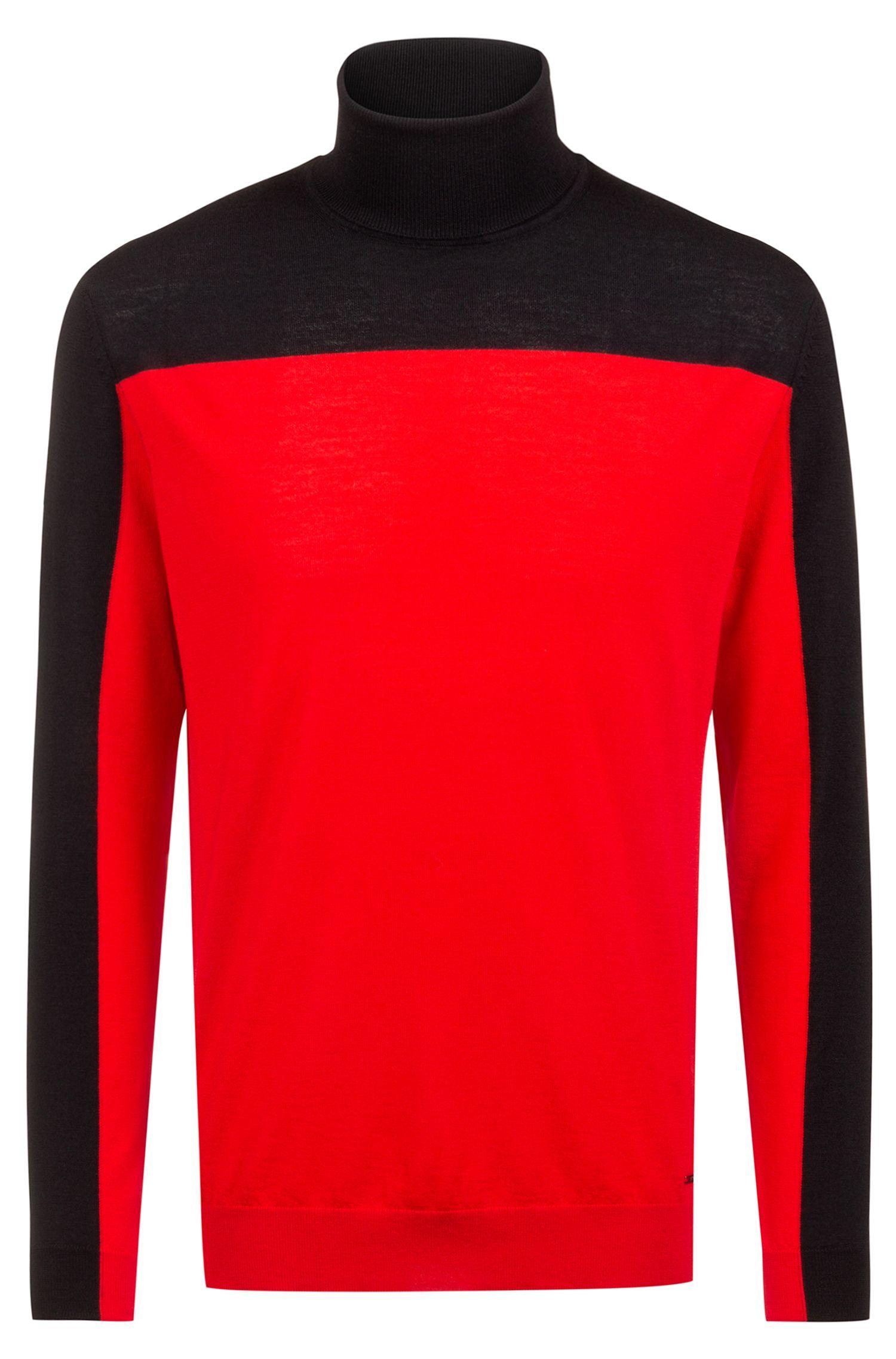 Slim-fit turtleneck sweater in colour-block merino wool, Open Pink