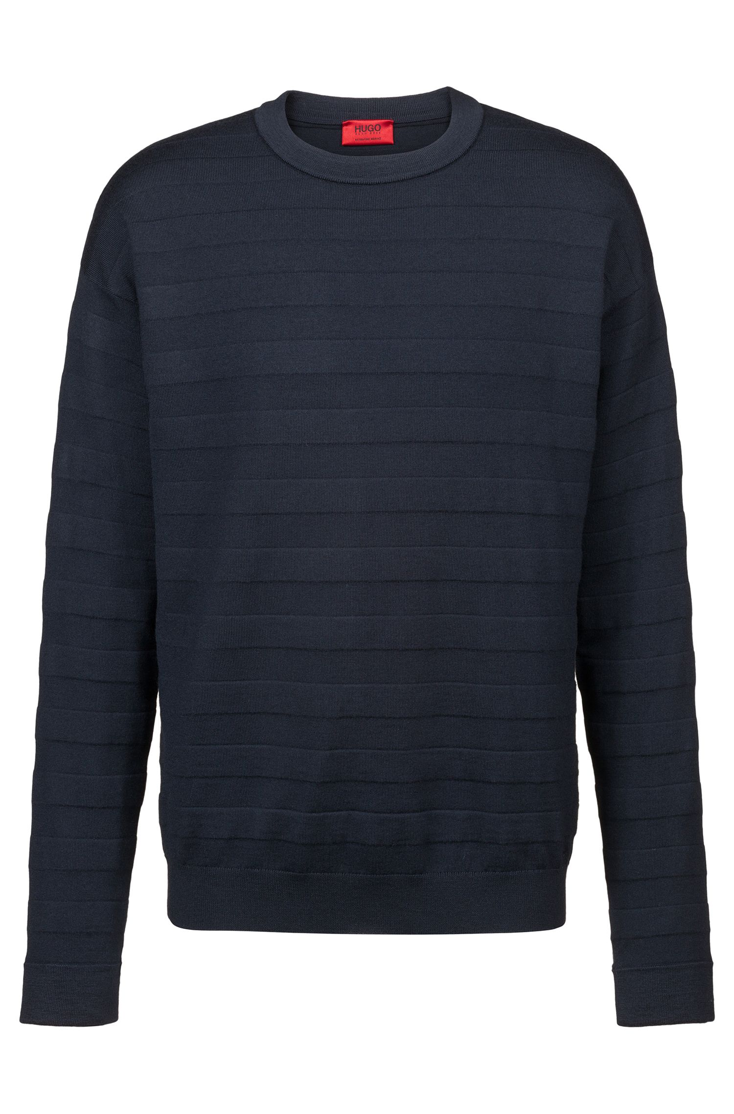 Oversized-fit sweater in merino wool with 3D stripes, Dark Blue