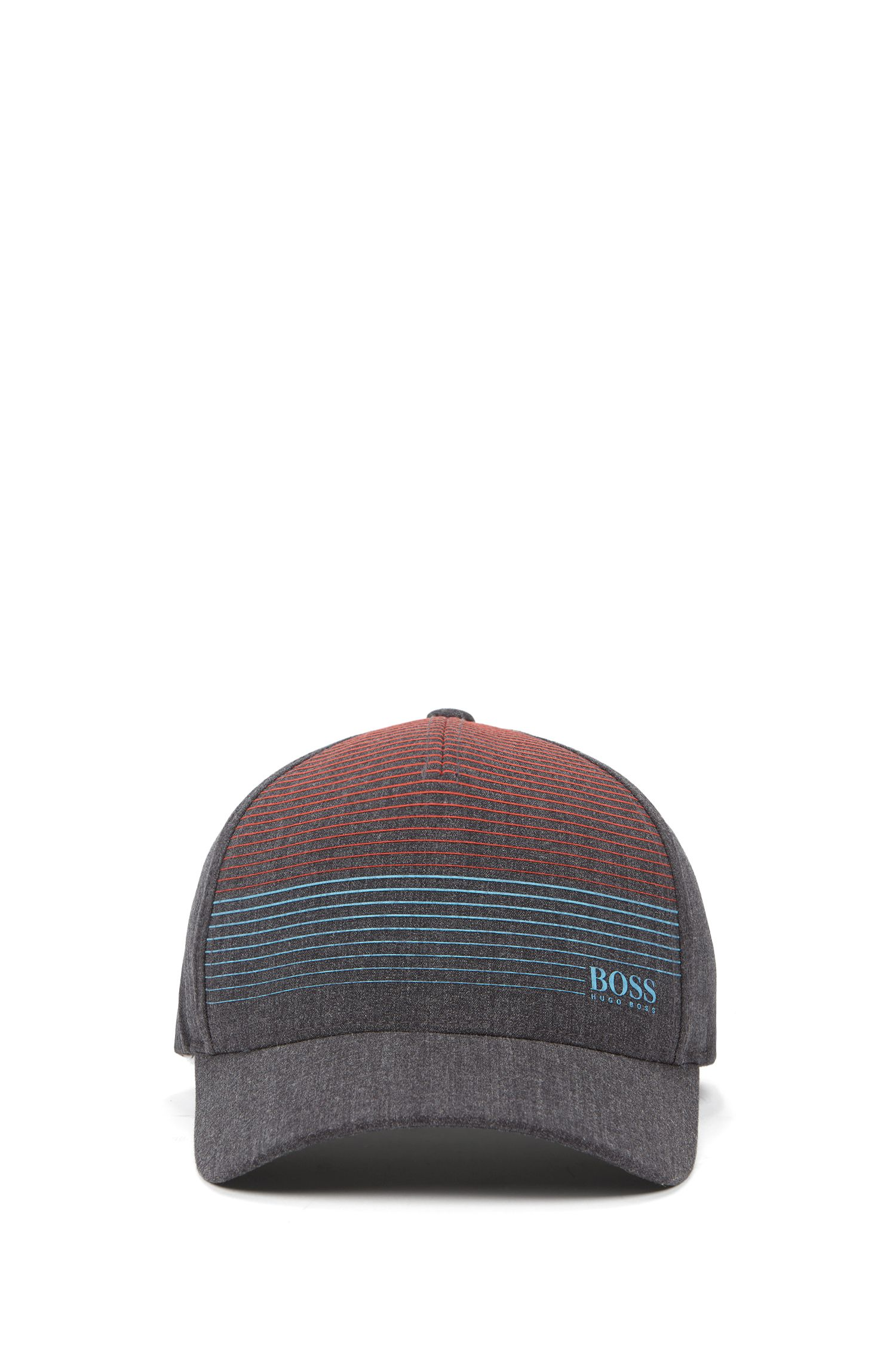 Adjustable cap in stretch melange with rubberized stripe pattern, Grey
