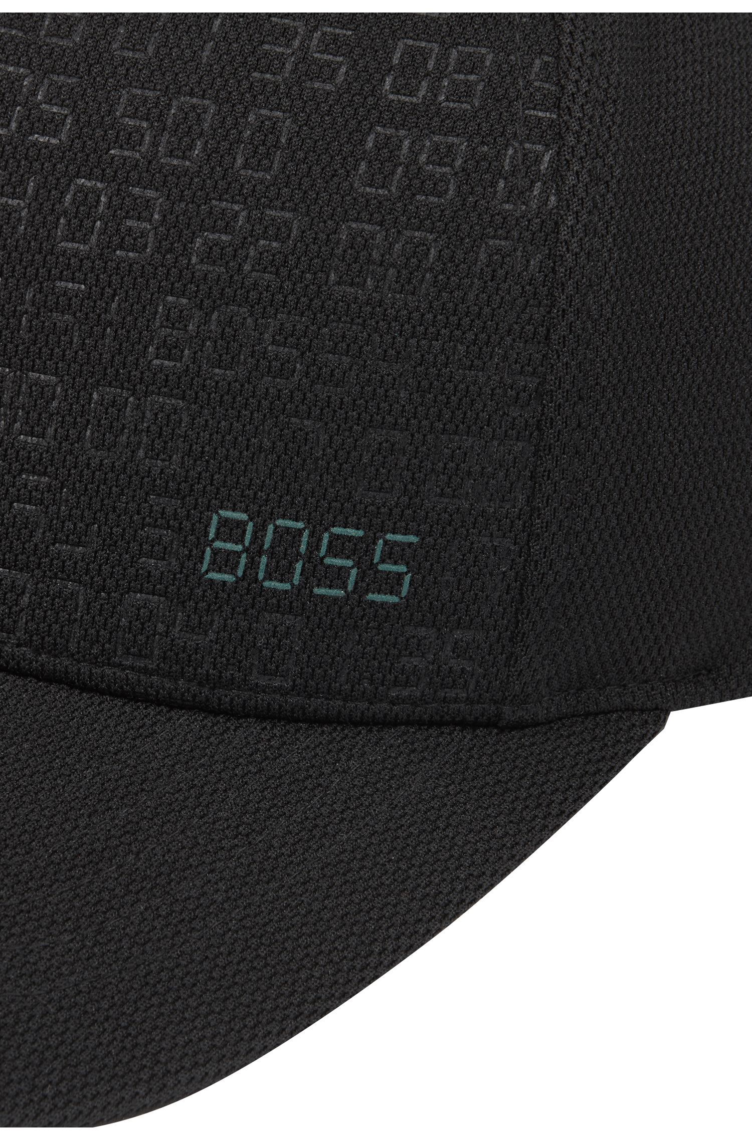 Digital-patterned cap with reflective logo and adjustable closure, Black