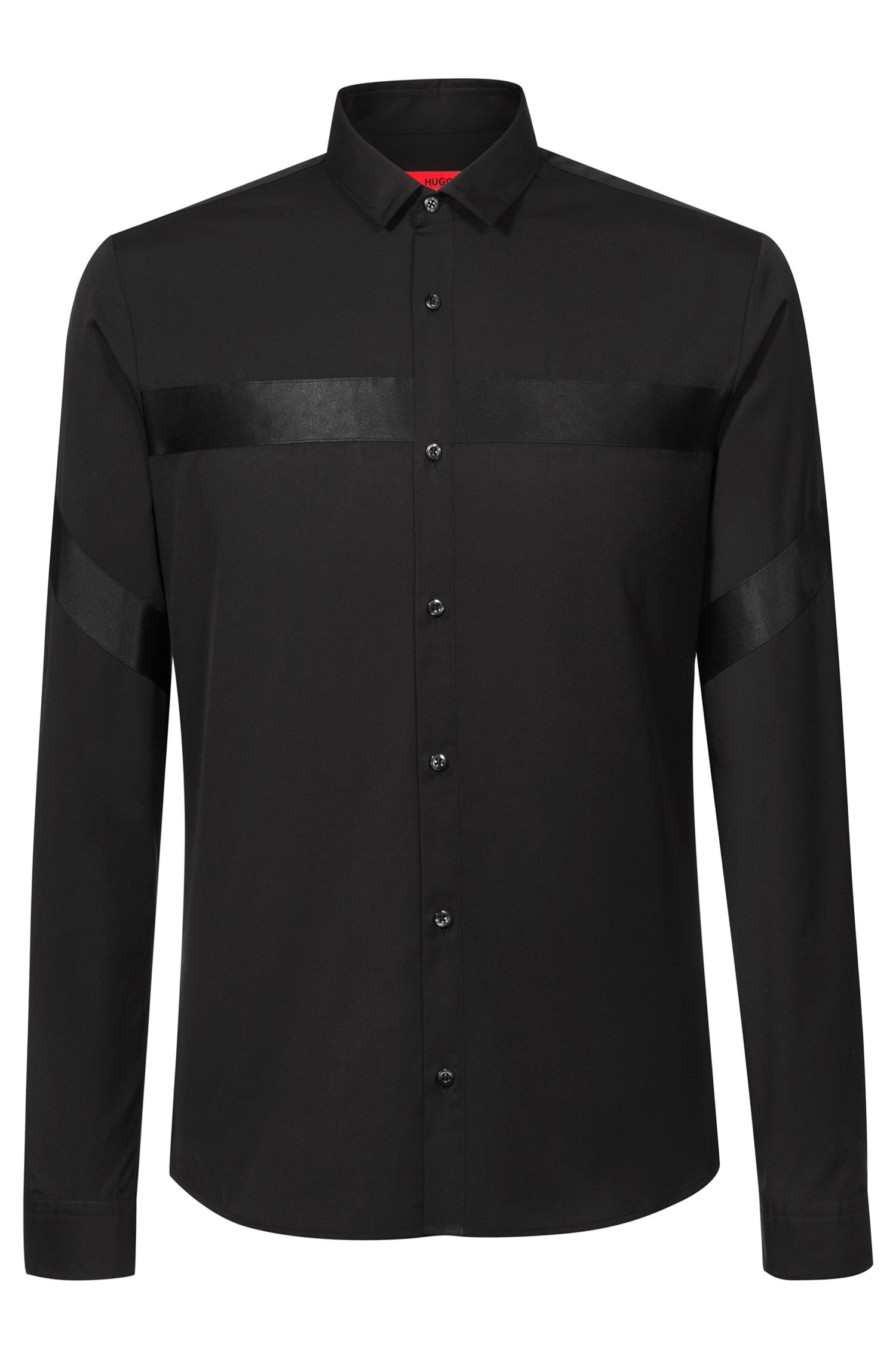 Extra-slim-fit shirt in cotton with tonal ribbon details, Black