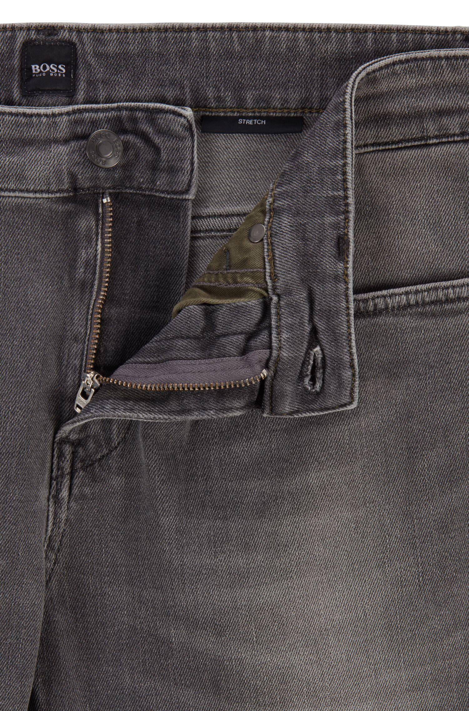 Slim-fit jeans in mid-washed grey stretch denim, Grey
