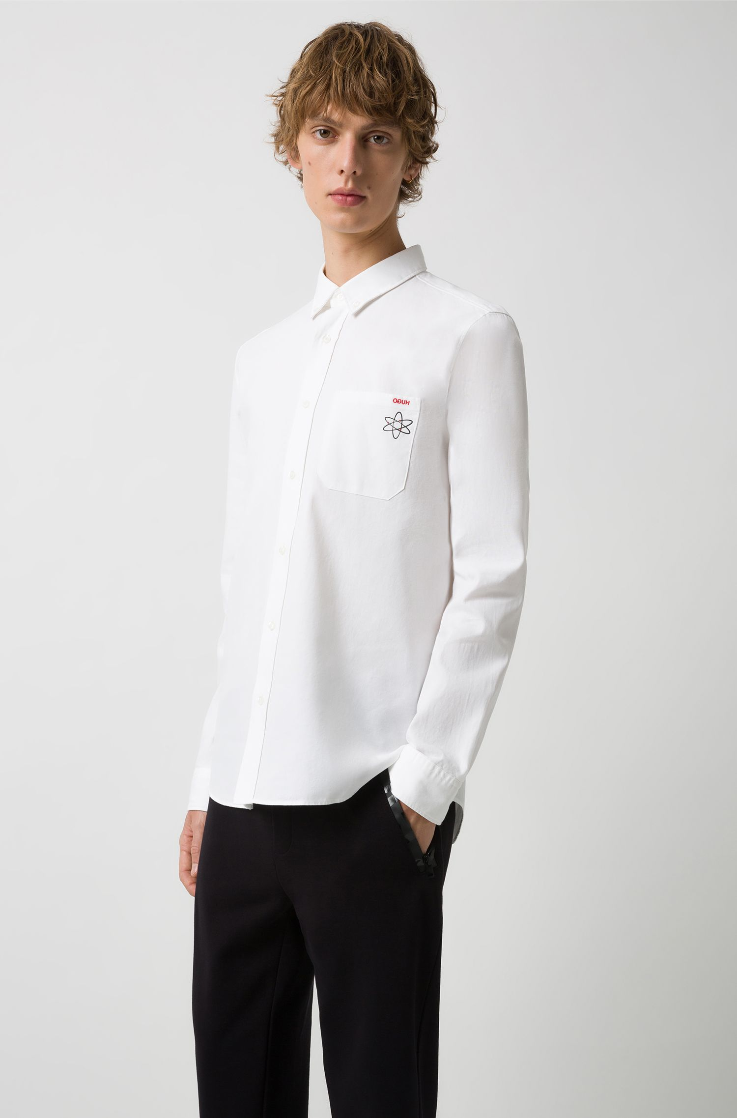 Relaxed-fit shirt in Oxford cotton with seasonal motif, Open White