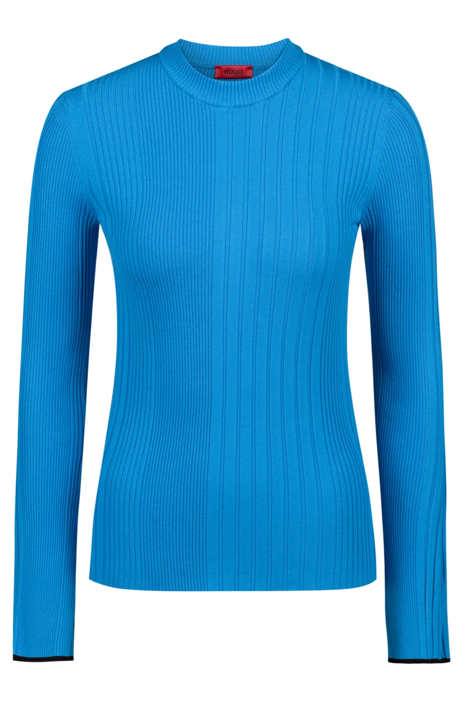Slim-fit sweater in a ribbed knit, Open Blue