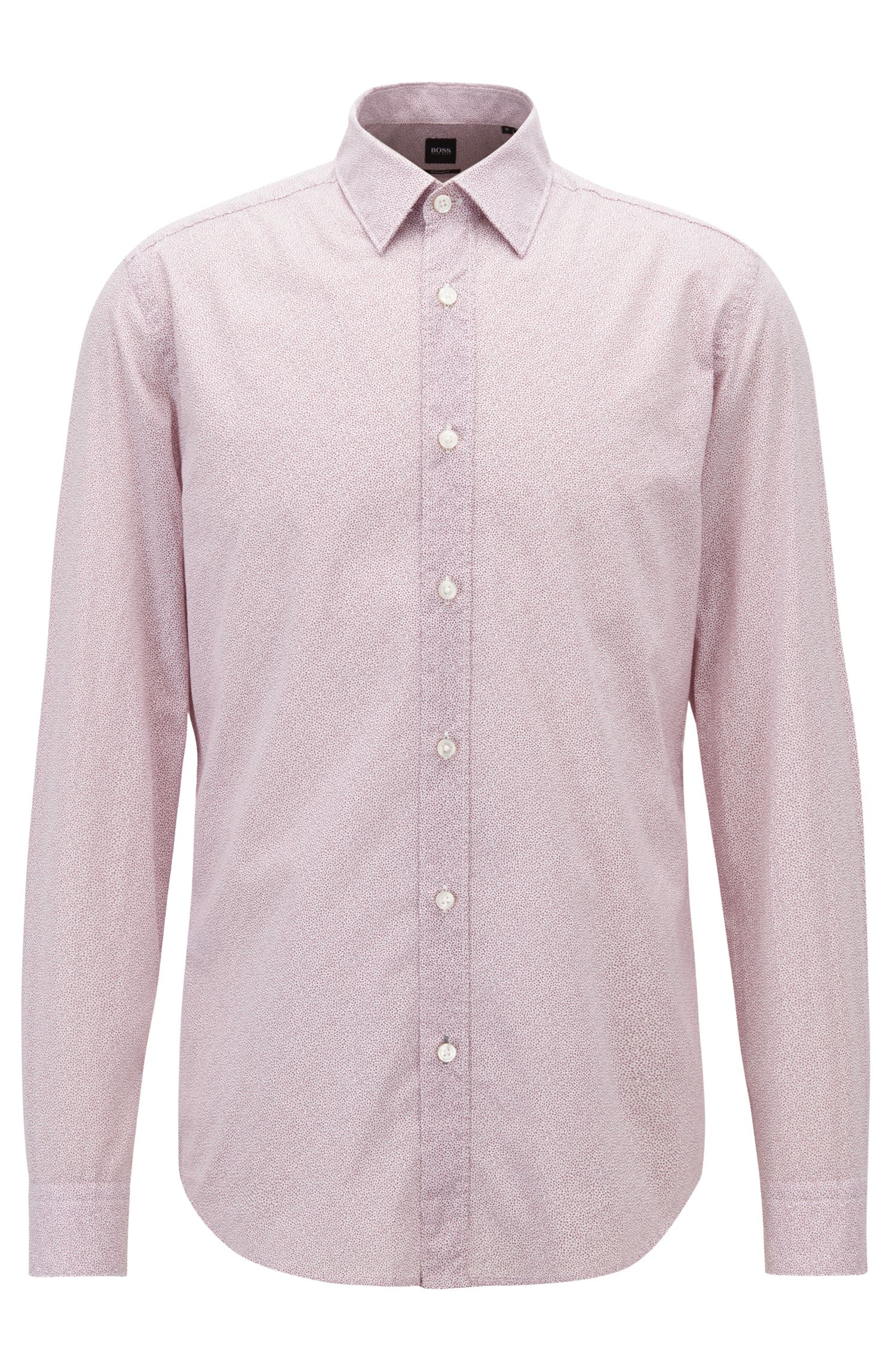 Regular-fit shirt in flower-print cotton voile, Open Purple