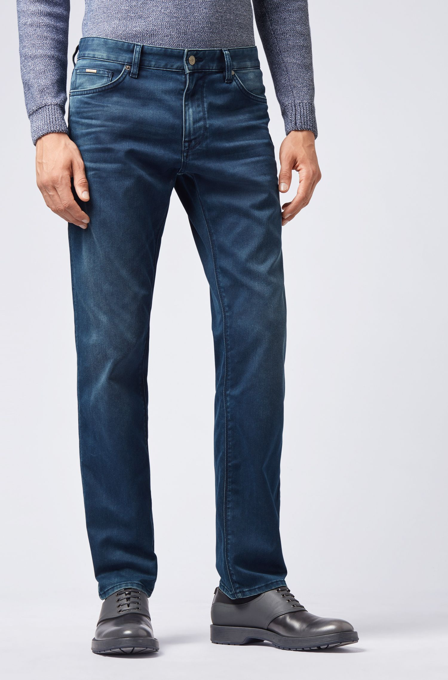 Regular-fit jeans in mid-washed Italian stretch denim, Blue