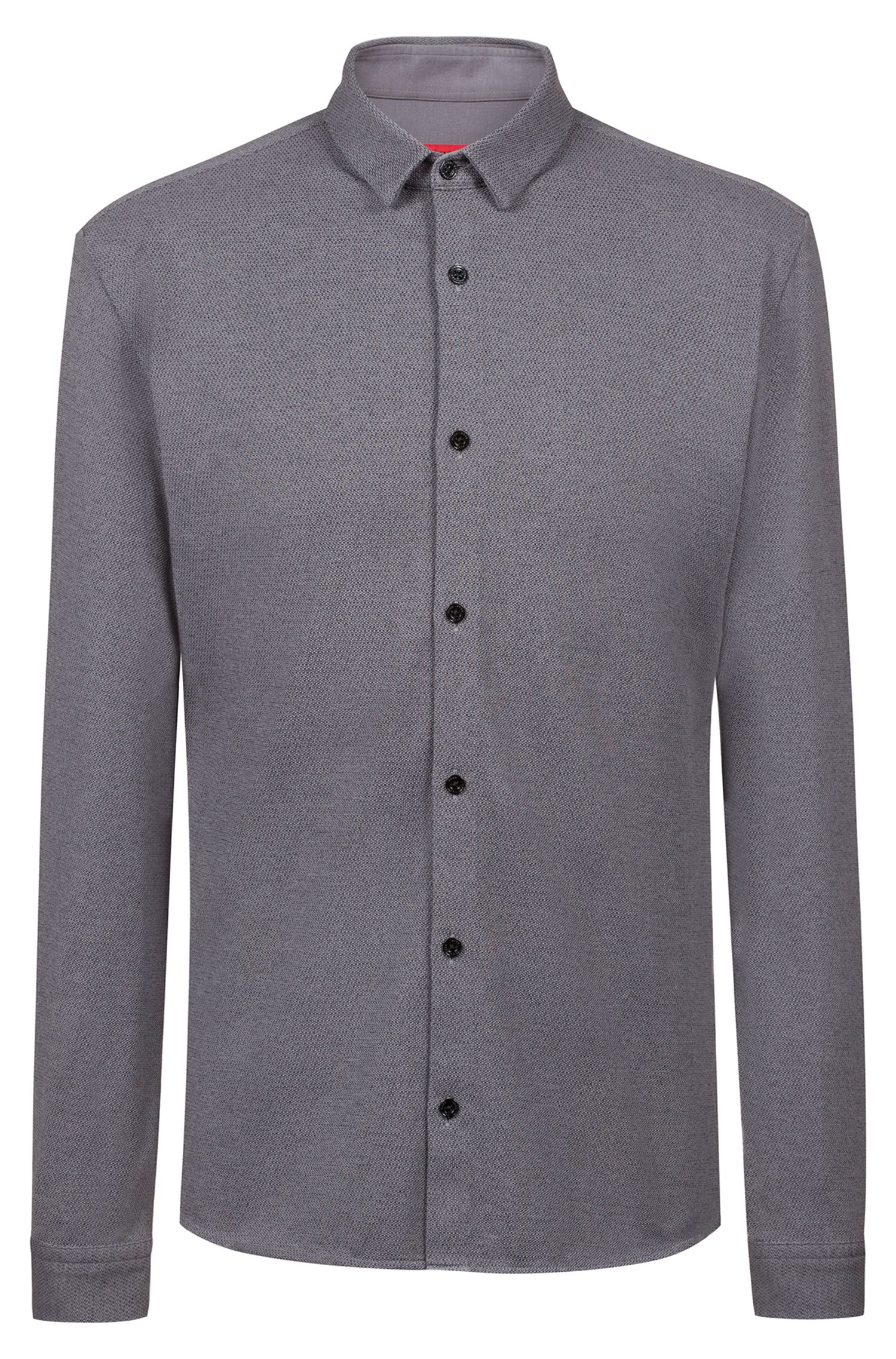 Extra-slim-fit cotton shirt with knitted jacquard structure, Open Grey