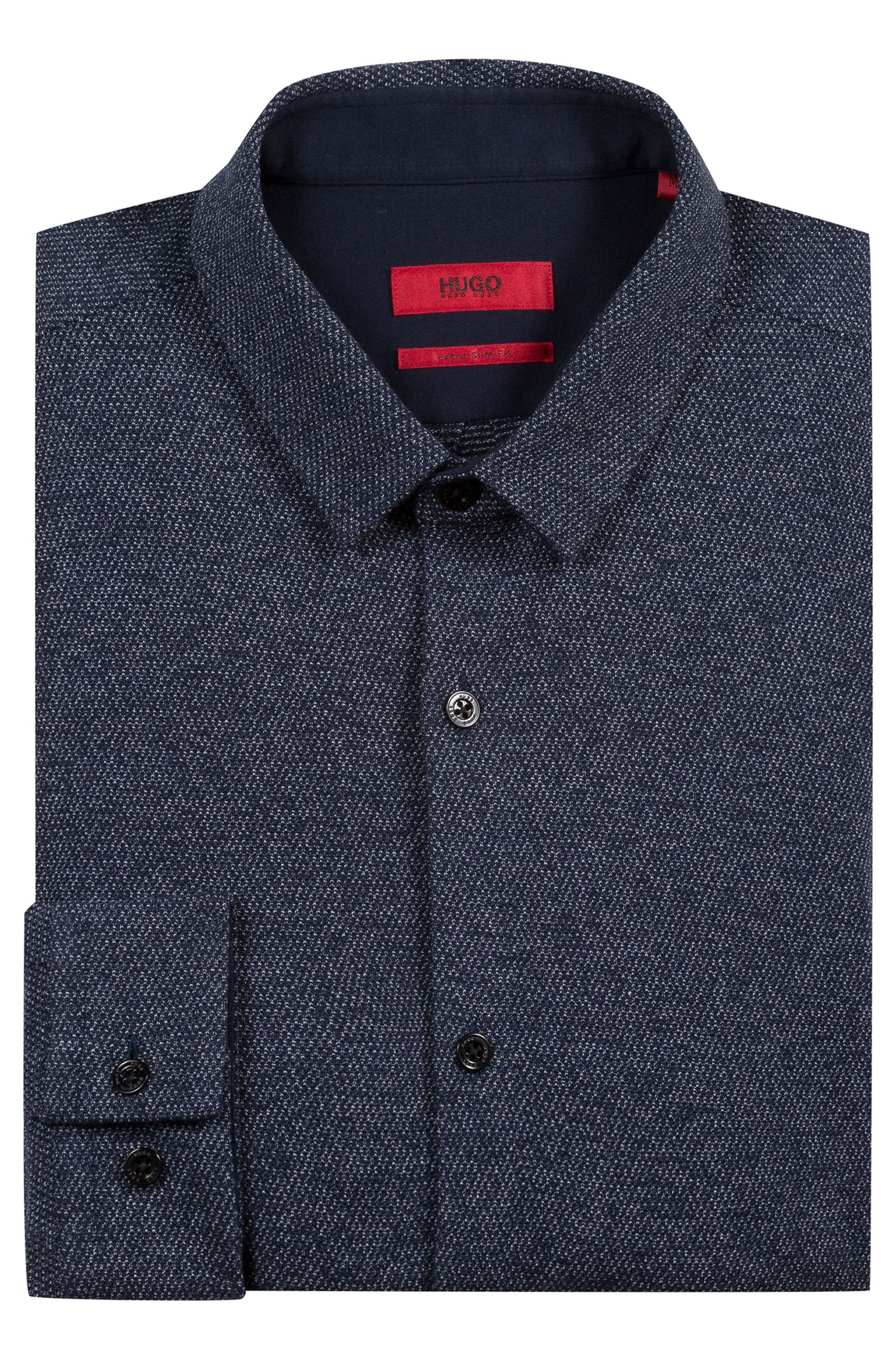Extra-slim-fit cotton shirt with knitted jacquard structure, Dark Blue