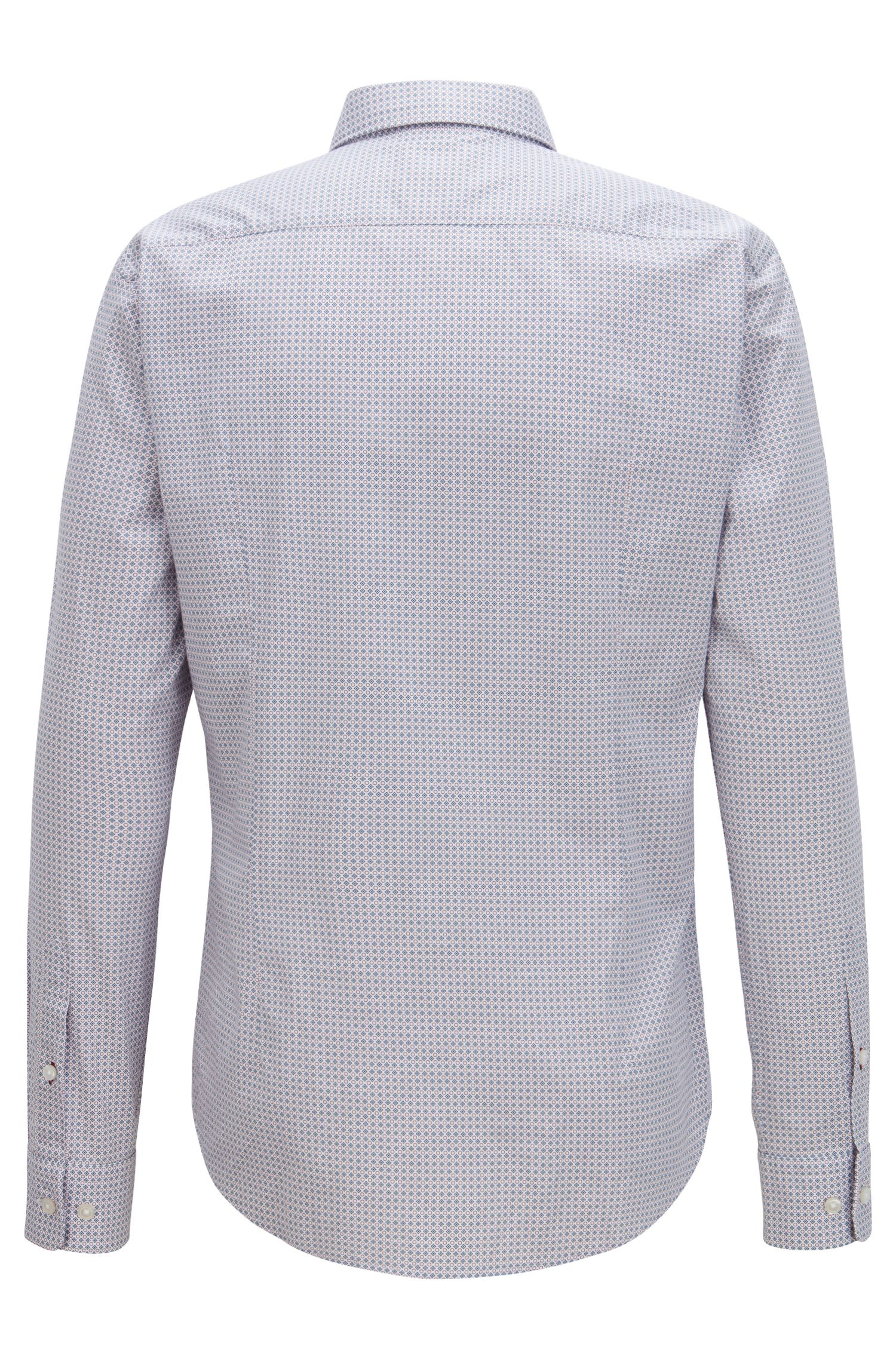 Slim-fit shirt in stretch cotton with geometric print, Open Blue