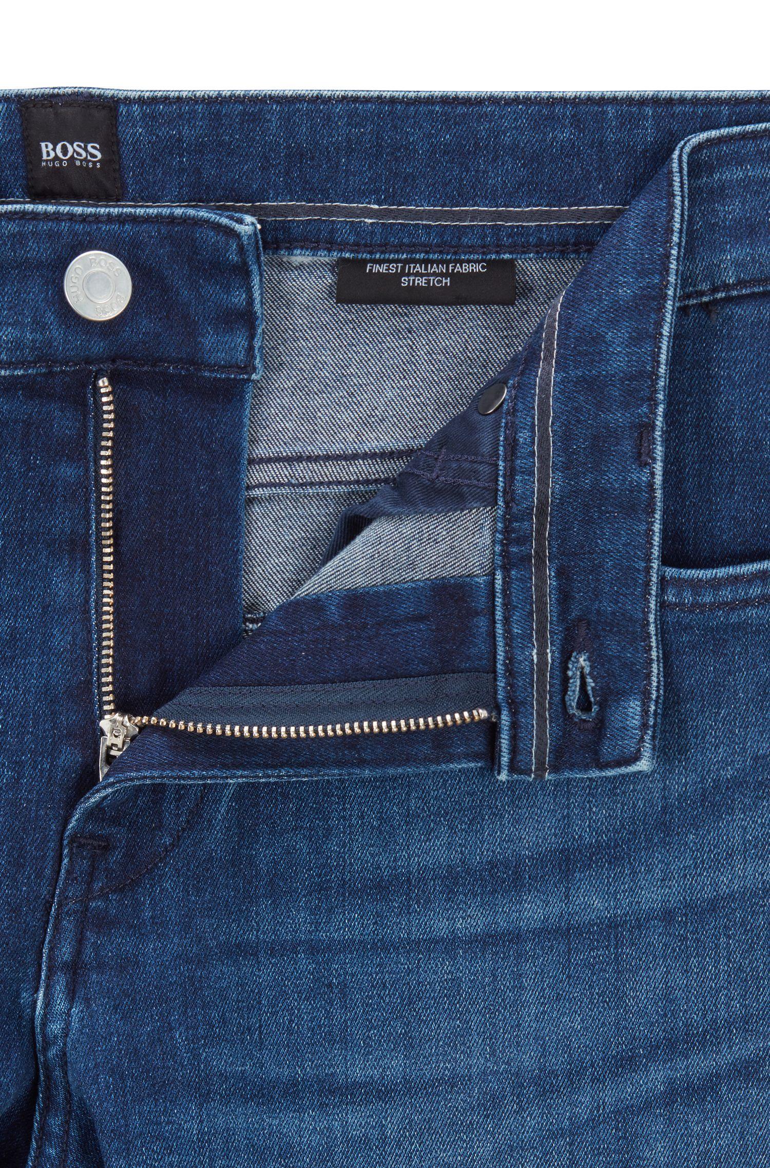 Slim-fit jeans in bright-blue Italian stretch denim, Turquoise