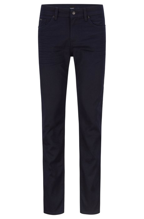 Slim-fit jeans in blue-black Italian stretch denim, Dark Blue