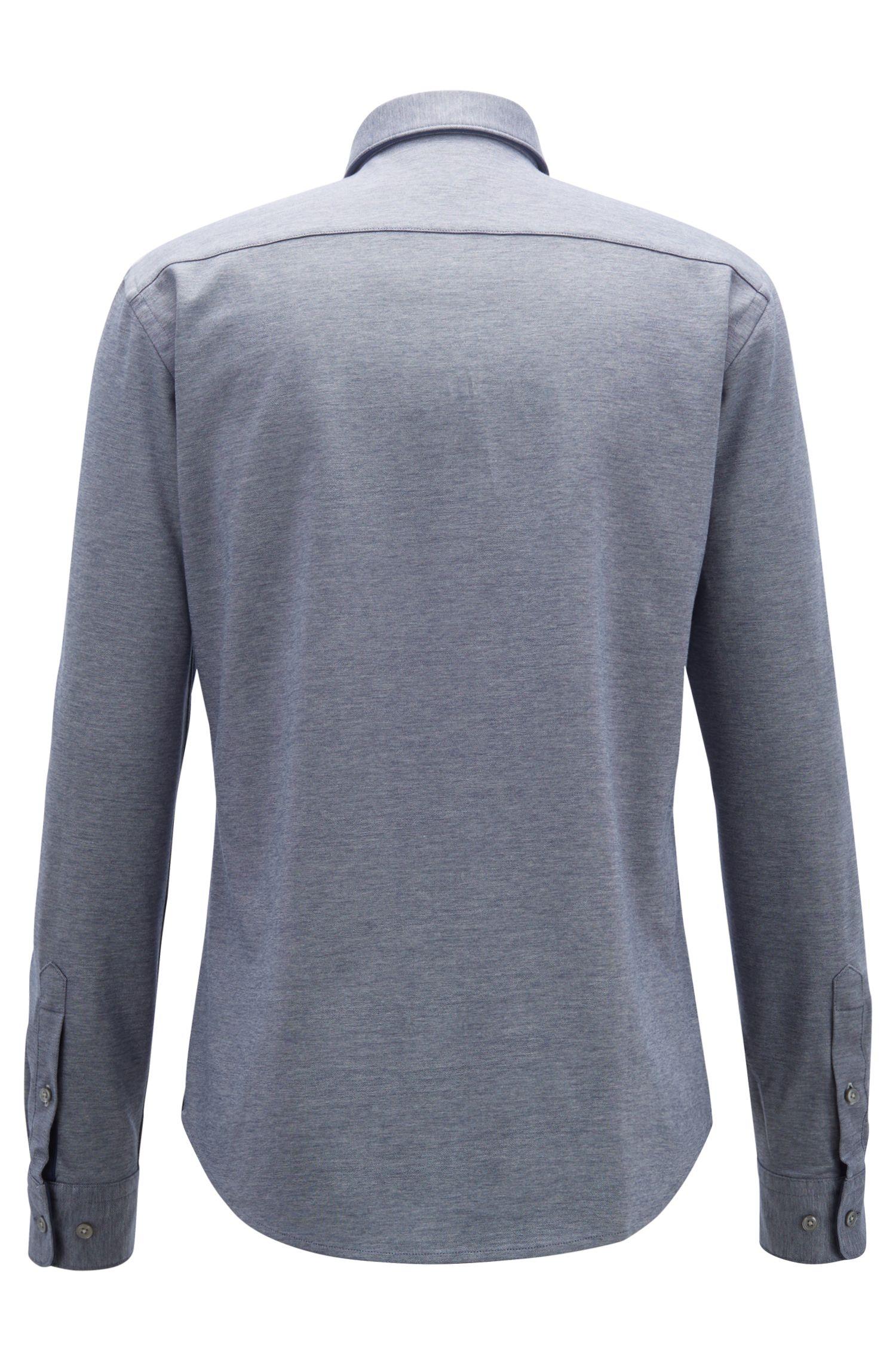 Slim-fit shirt in double-faced cotton-jersey piqué, Open Blue