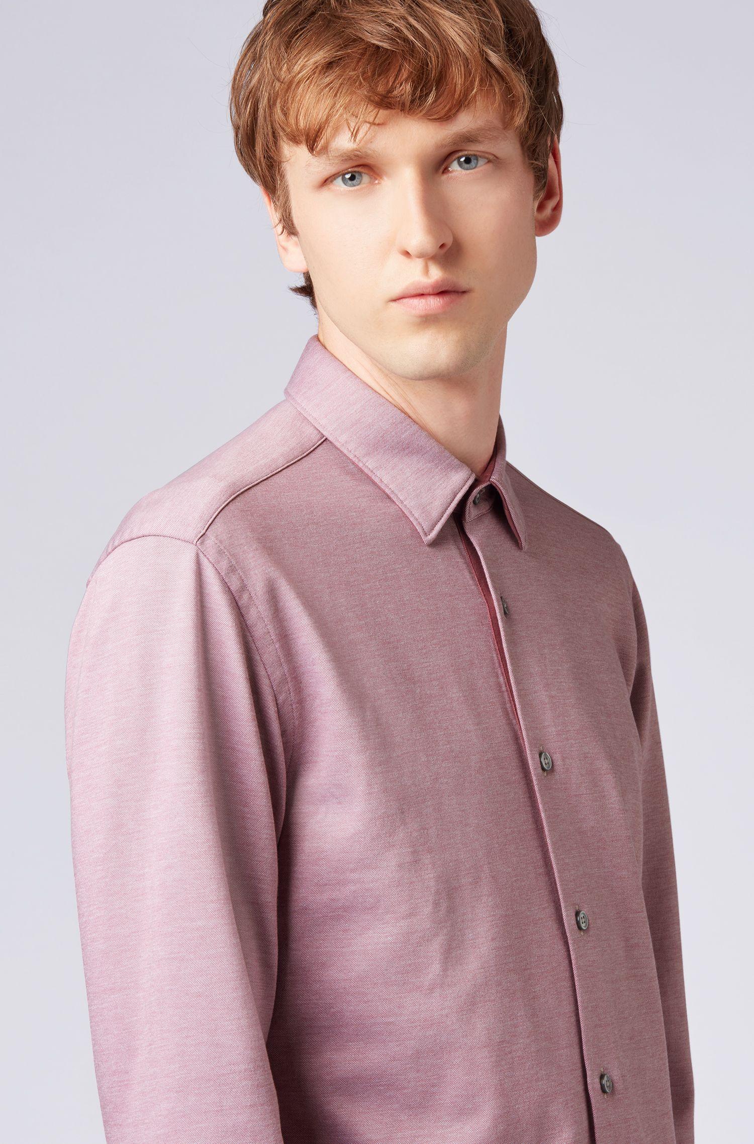 Slim-fit shirt in double-faced cotton-jersey piqué, Open Purple