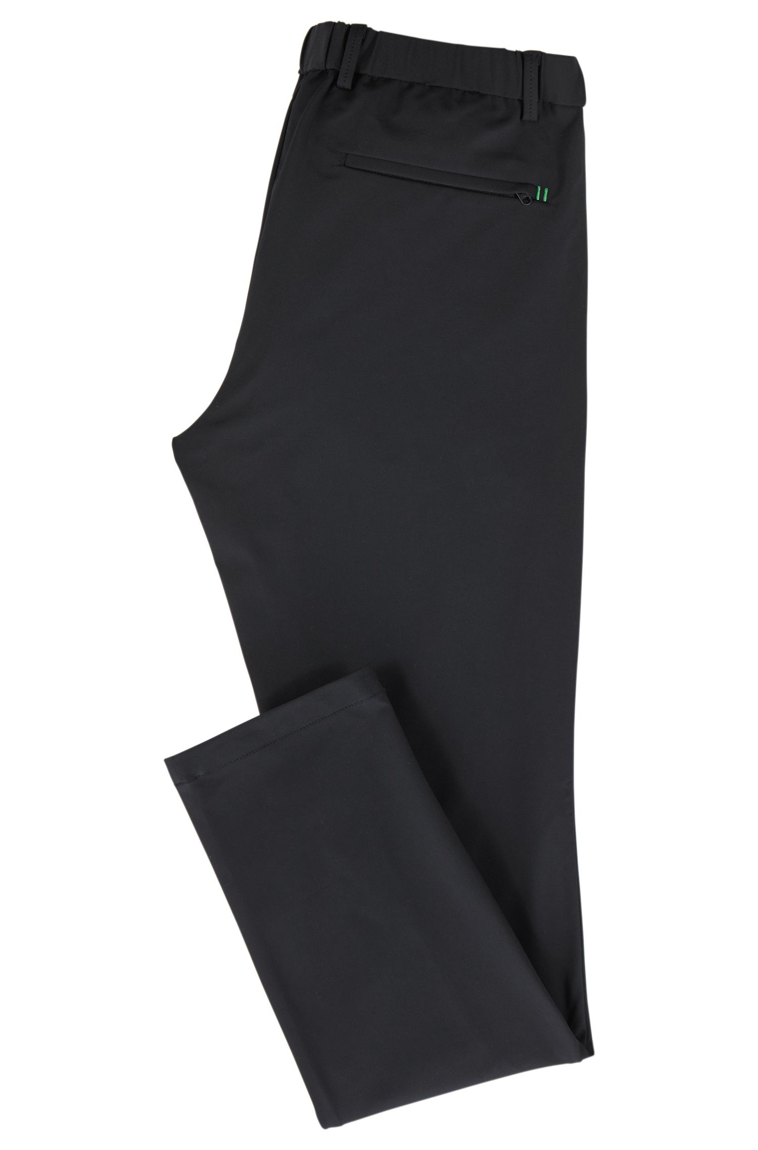 Slim-fit trousers in water-repellent stretch fabric, Black