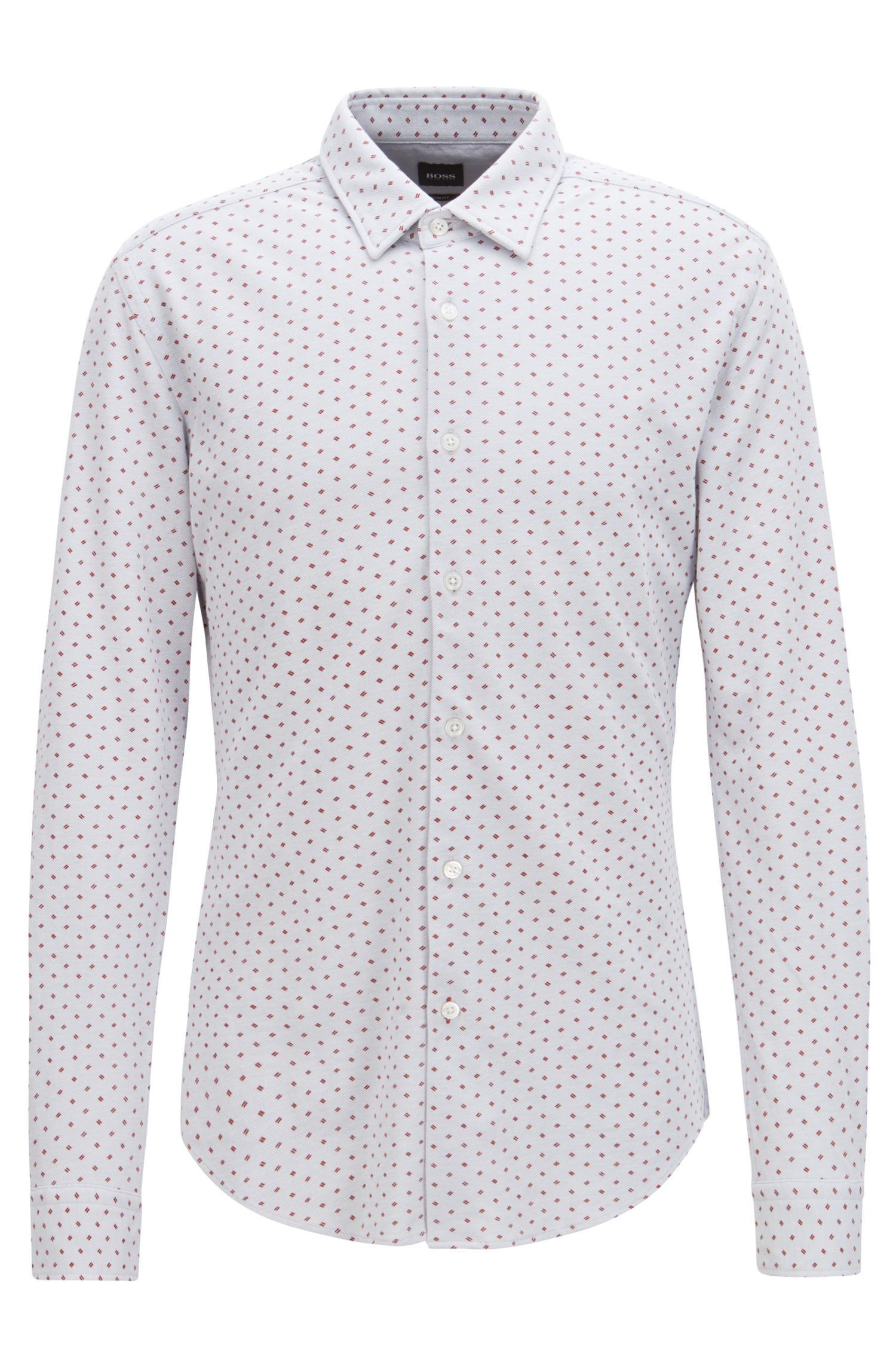 Slim-fit shirt in jersey piqué with exclusive pattern, Silver