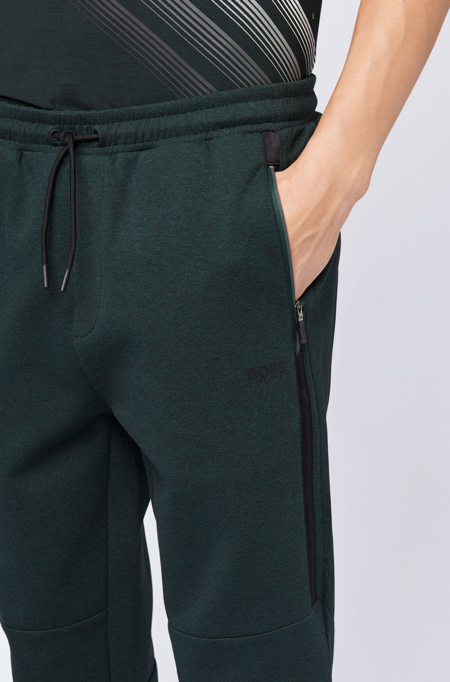 Slim-fit mouliné jersey pants with tape details, Dark Green