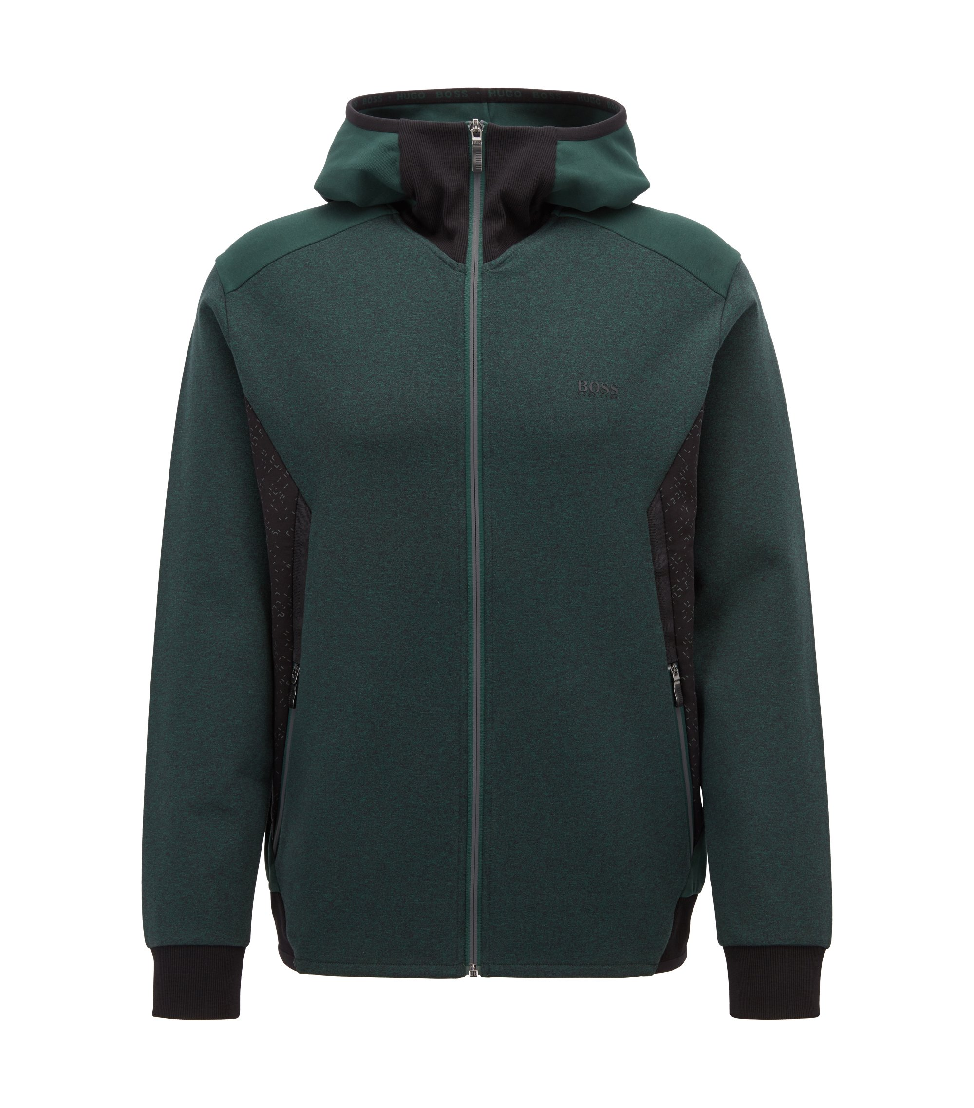 Slim-fit hoodie in stretch jersey with reflective details, Dark Green